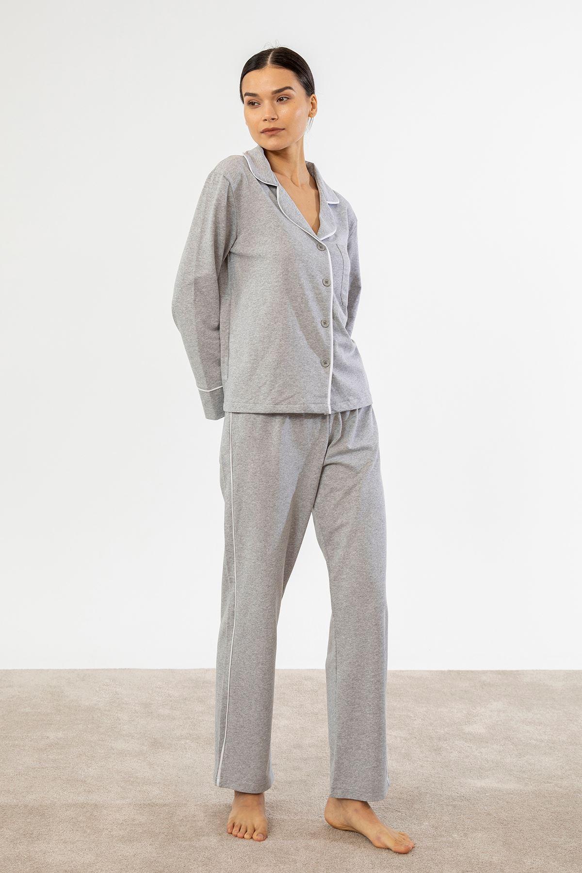 Şeritli Pijama Takım-Gri