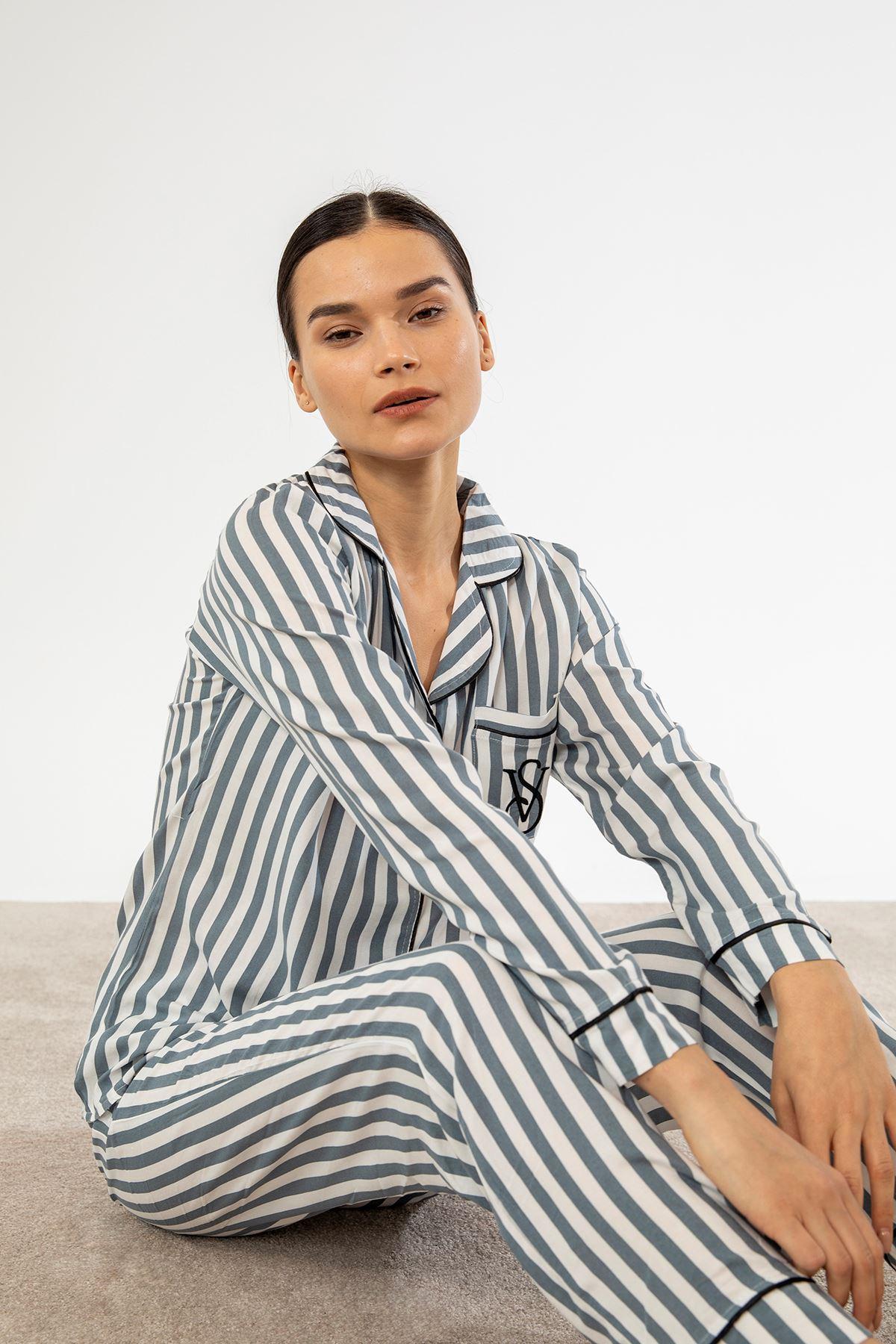 Çizgili Cepli Pijama Takım-Siyah