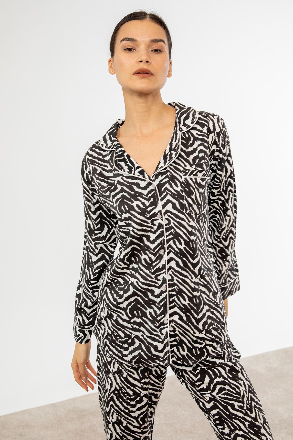 Zebra Desen Pijama Takım-Siyah