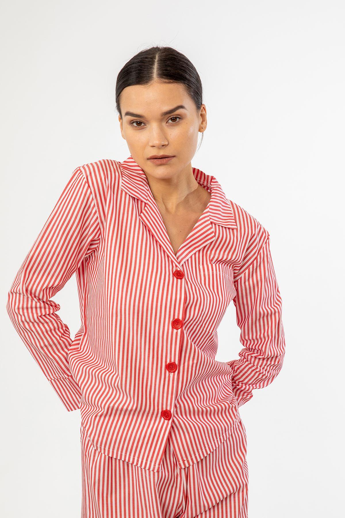 Çizgili Pijama Takım-Kırmızı