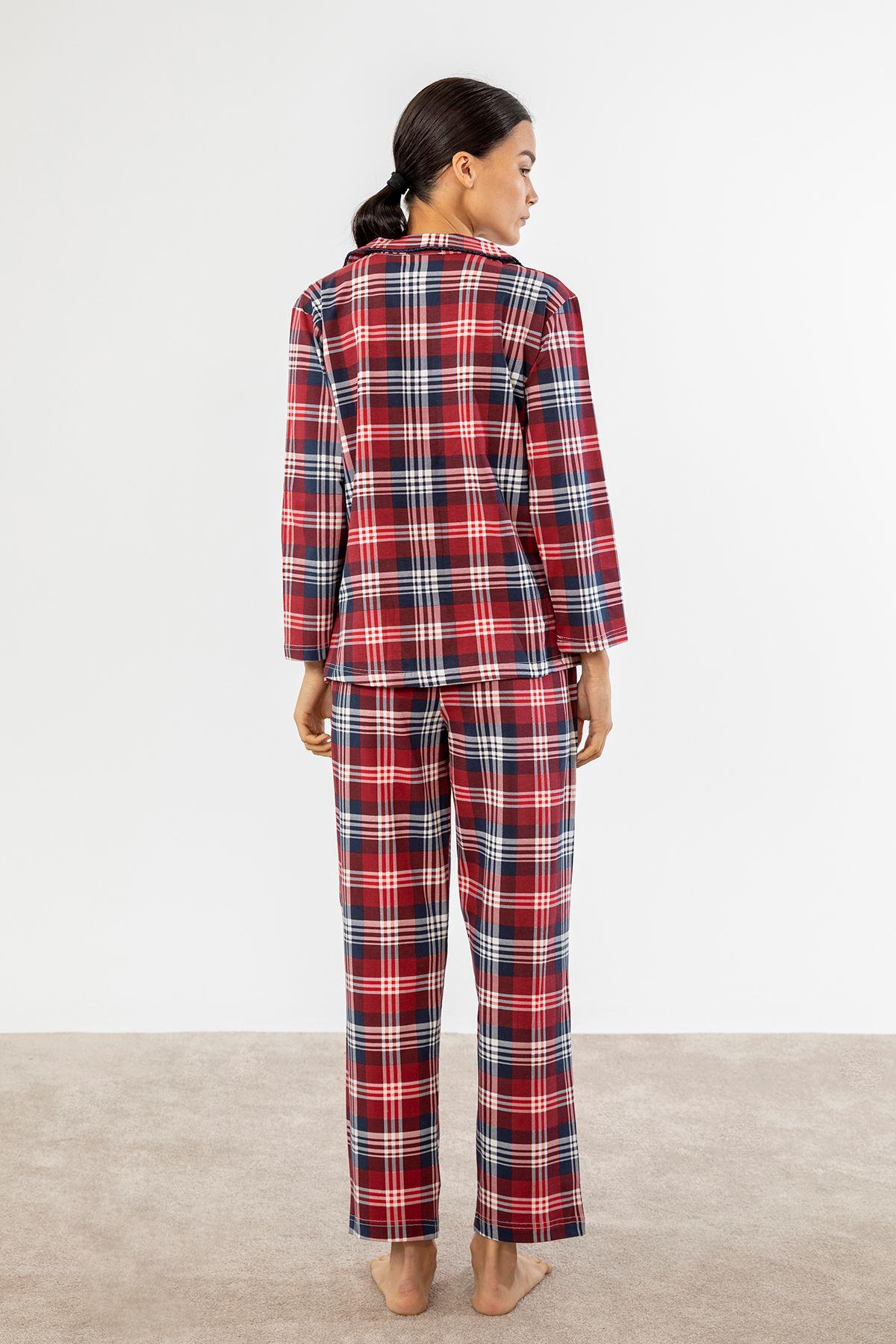 Ekose Pijama Takım-Kırmızı