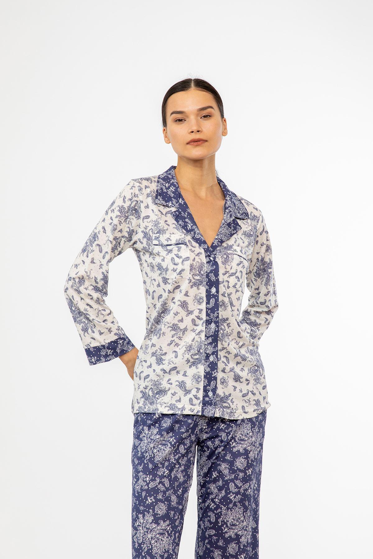 Şal Desen Pijama Takım-Lacivert