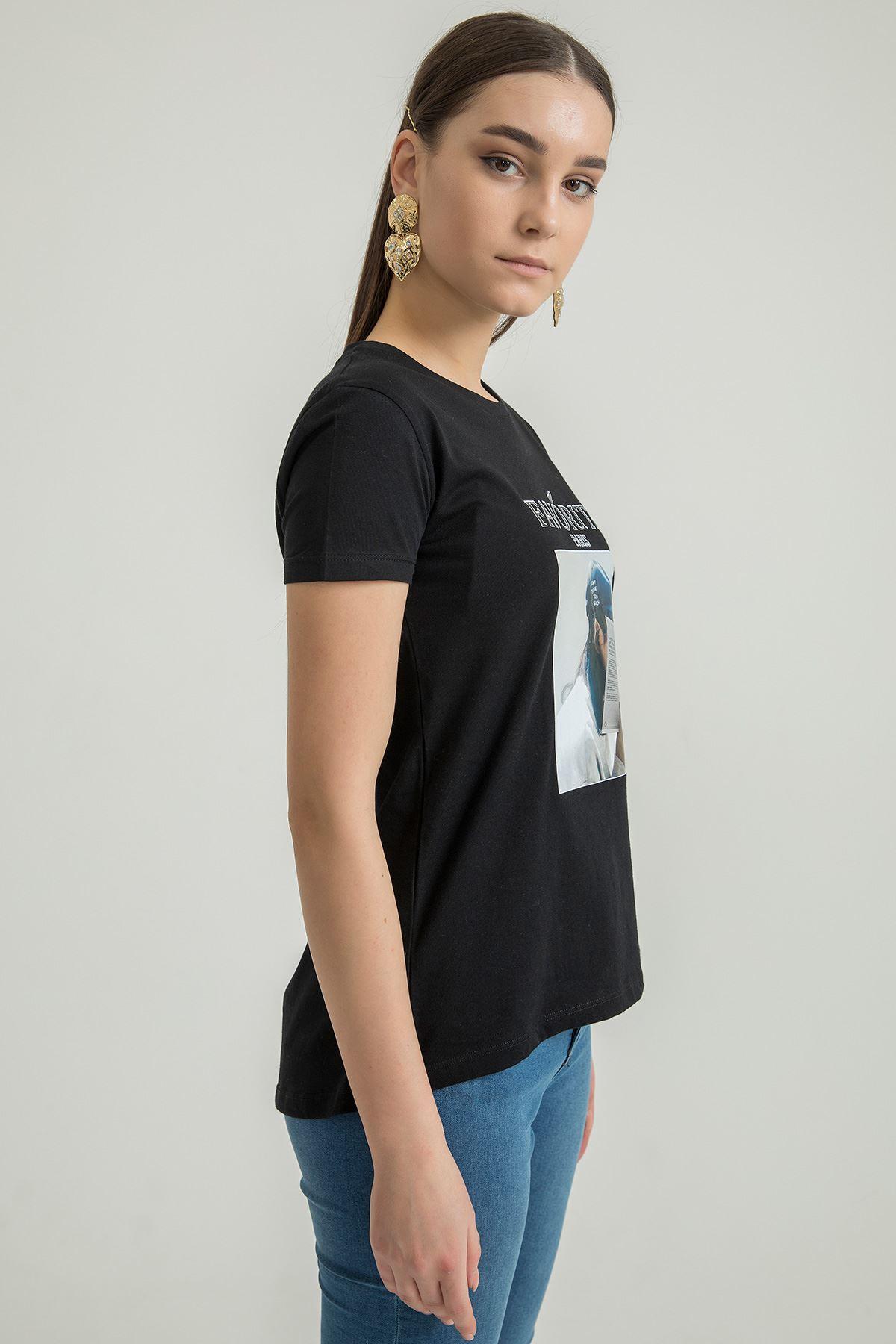 Favorite Baskılı T-shirt-Siyah