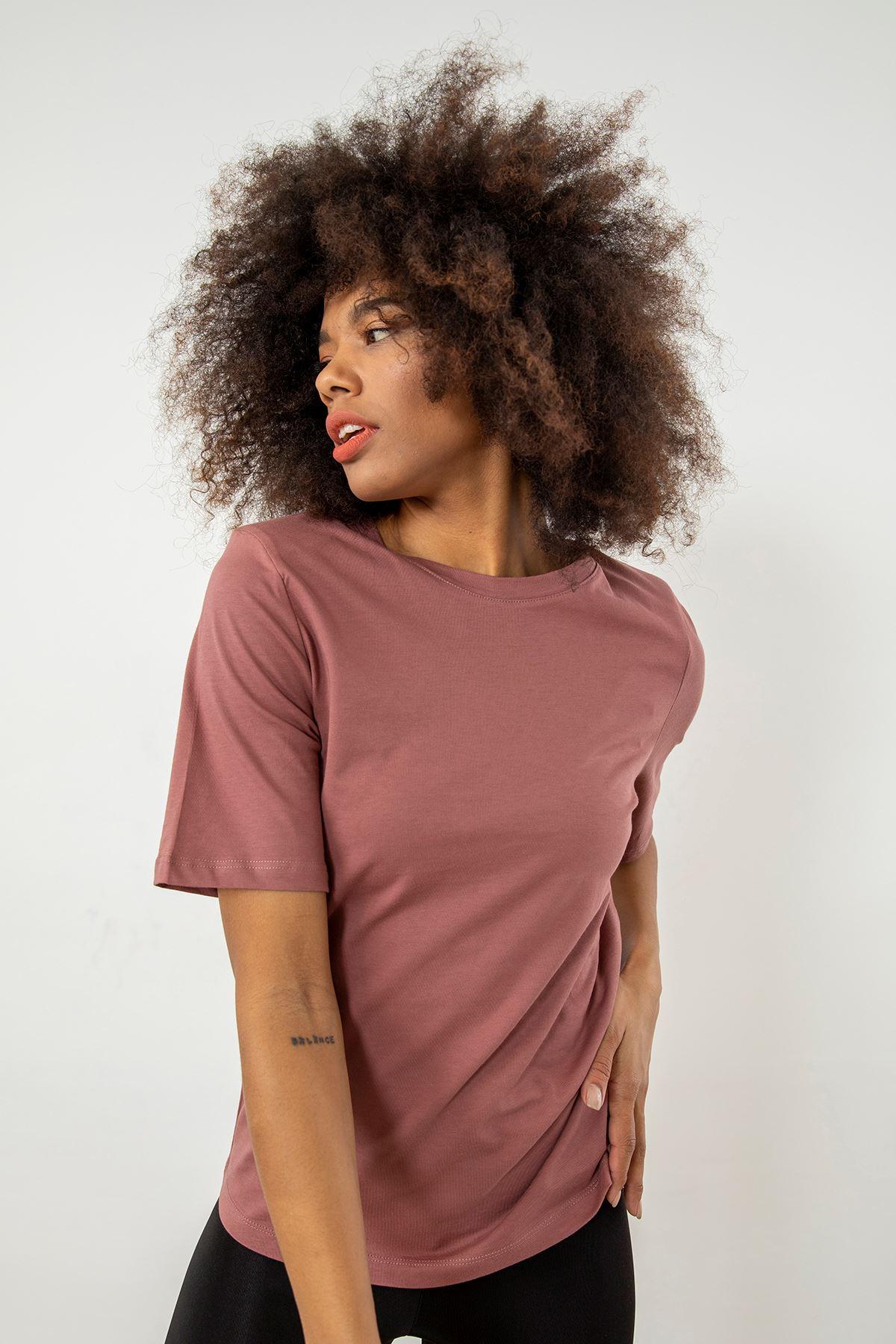 Vatkalı T-shirt-Gül Kurusu