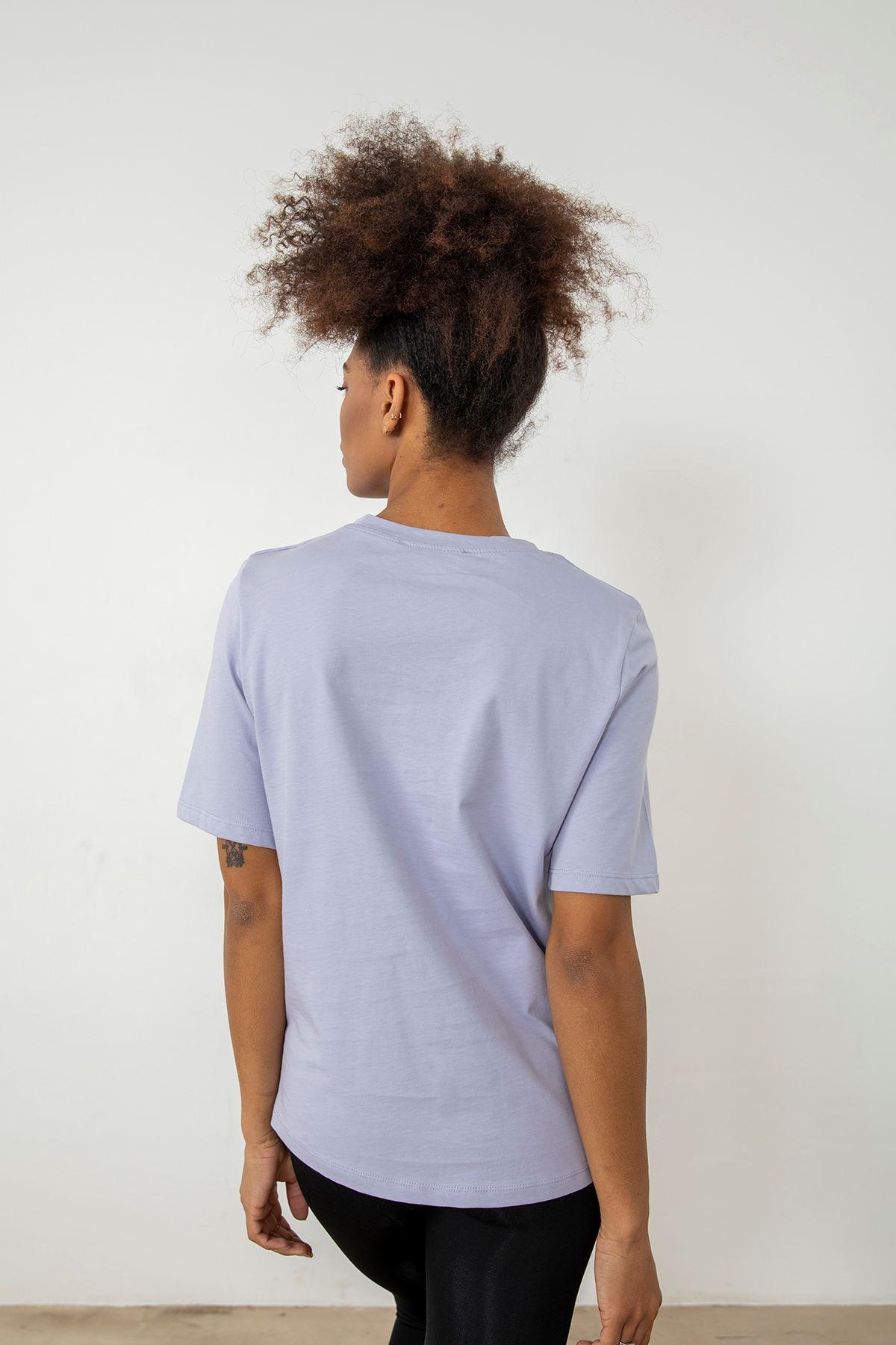 Vatkalı T-shirt-Lila