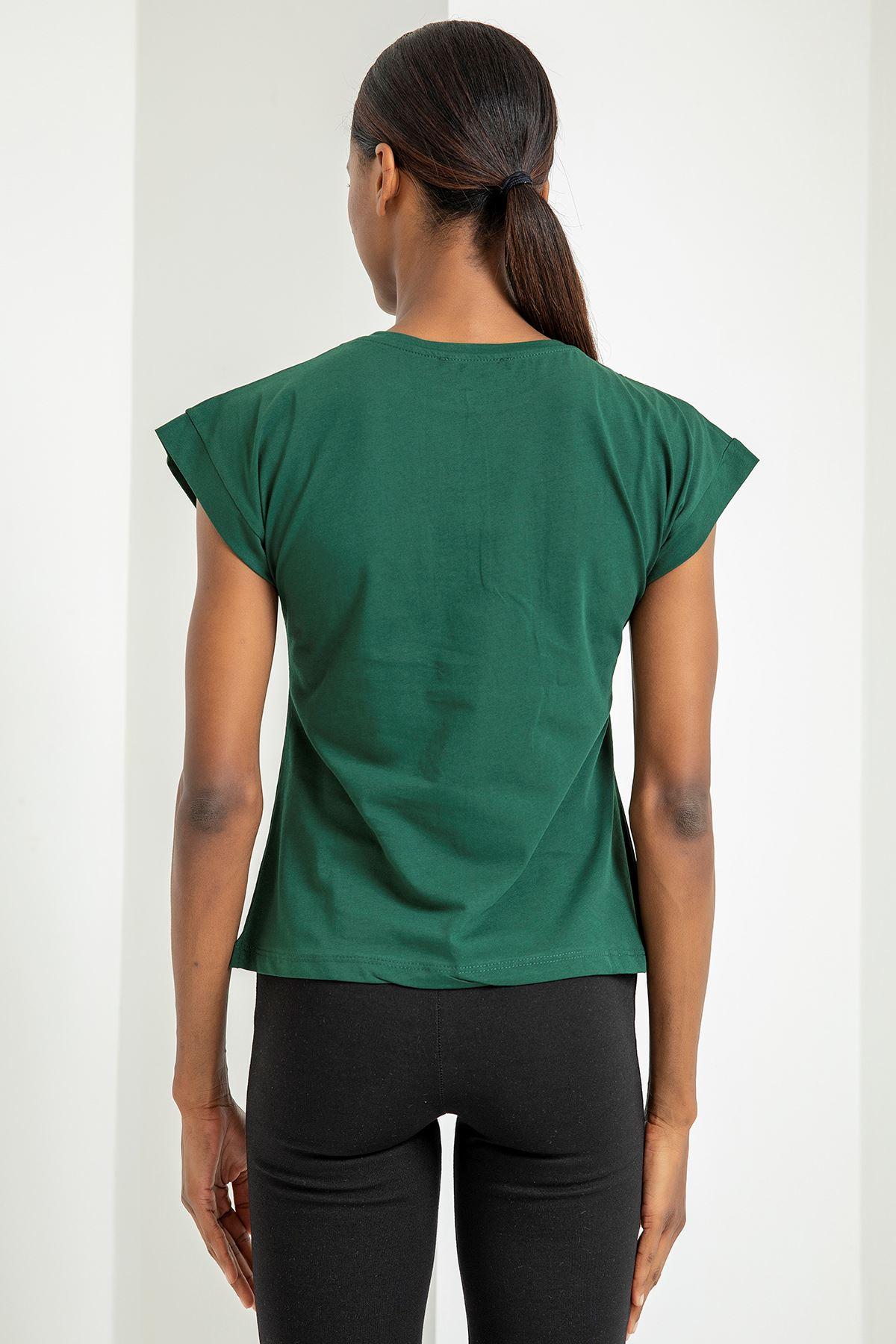 Yarasa Kol Rahat Kalıp Tişört-Yeşil