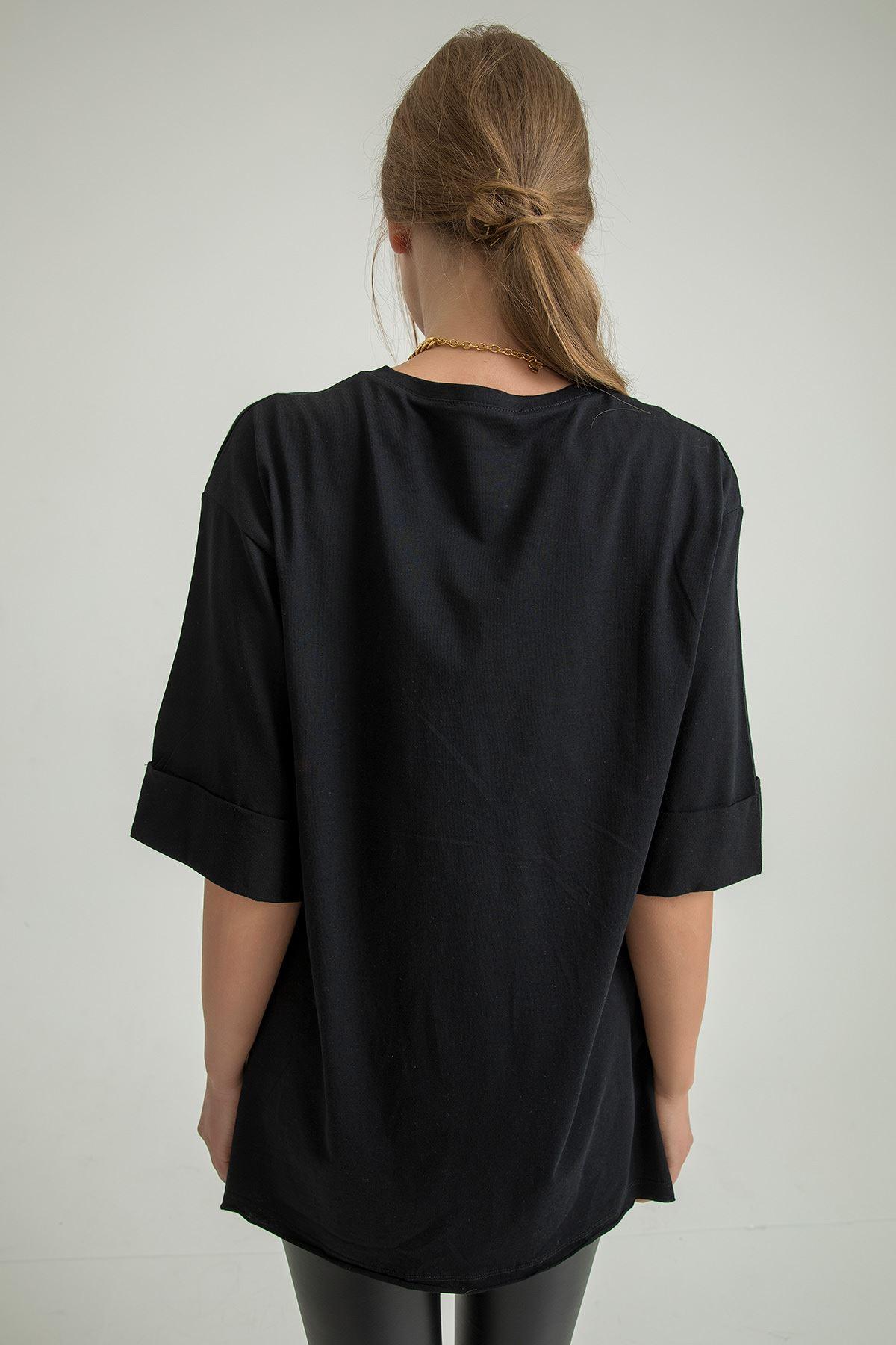 Yanı Yırtmaçlı Tshirt-Siyah
