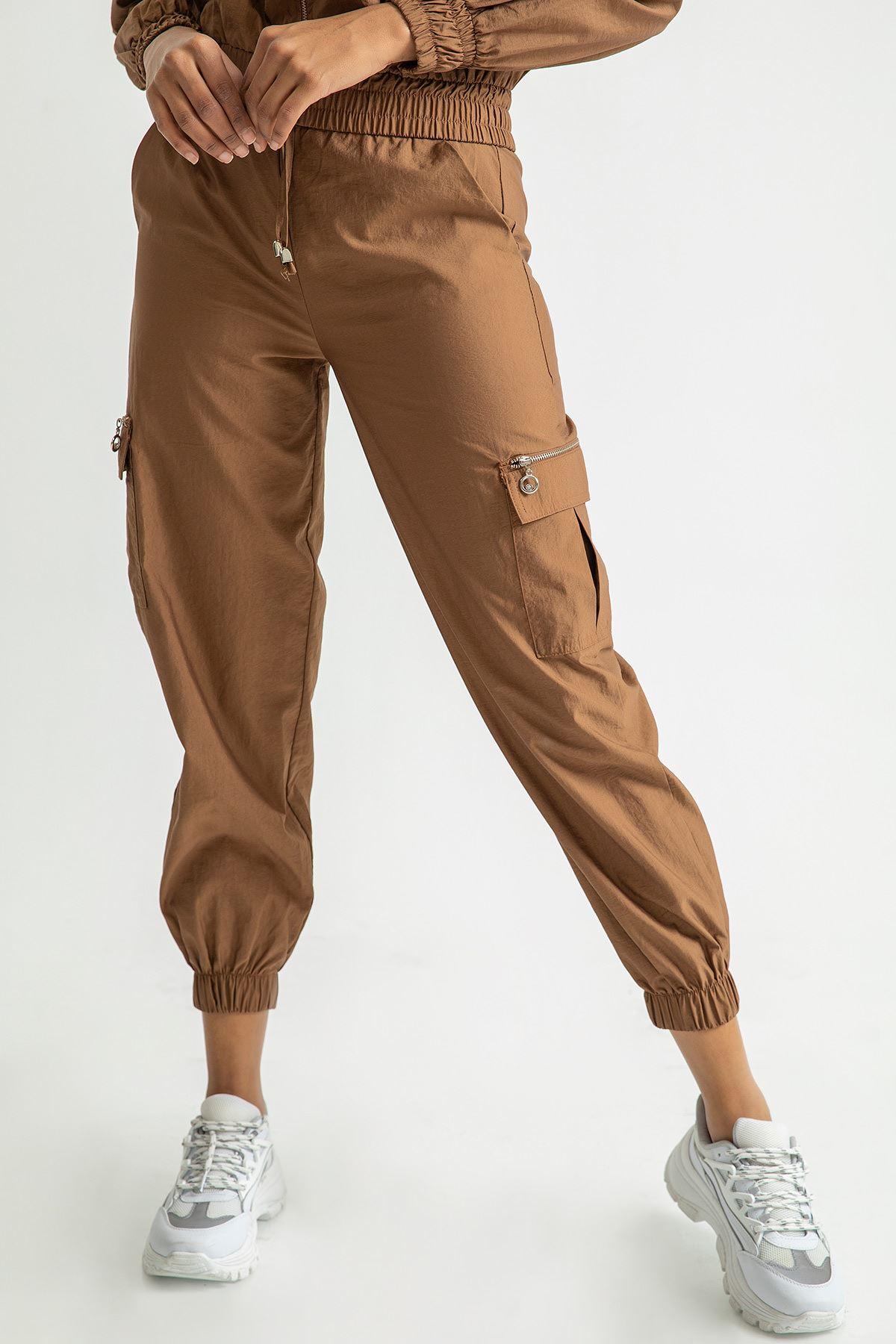 Beli Lastikli Kargo Pantolon-Tarçın