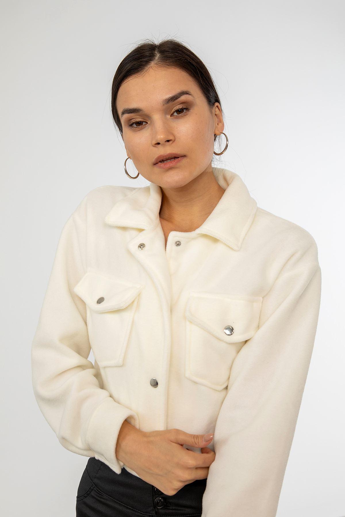 Çıtçıtlı Polar Ceket-Ekru