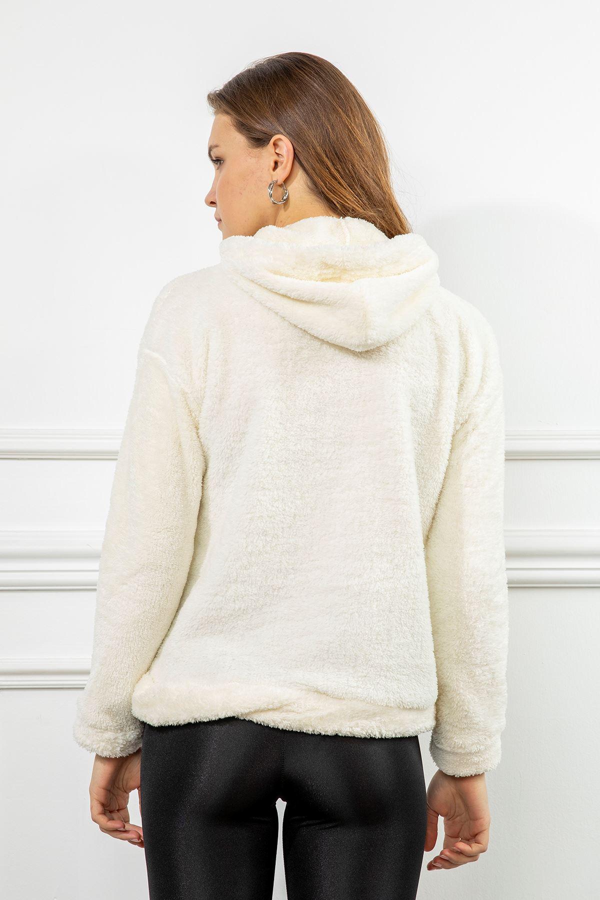 Brooklyn Nakışlı Peluş Sweatshirt-Ekru