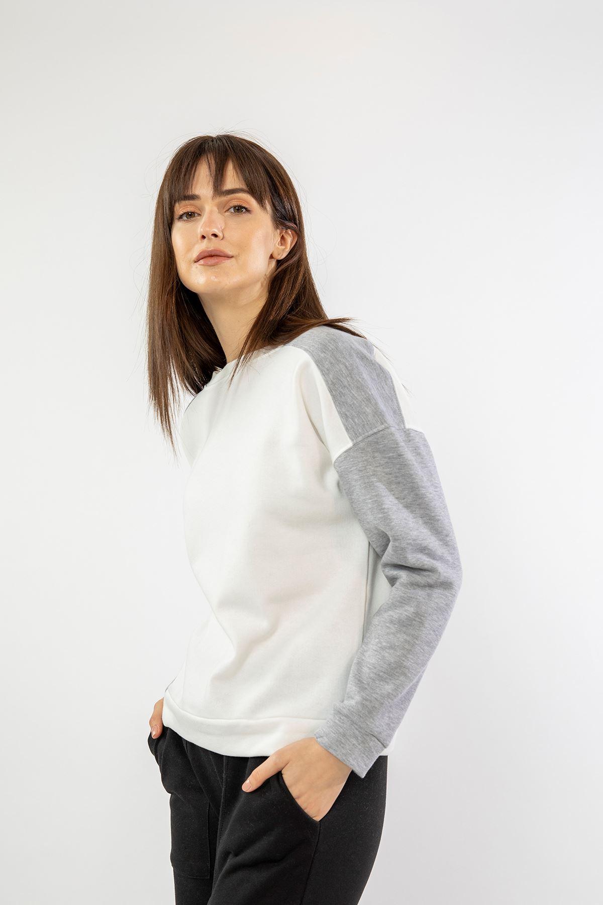 Garnili Sweatshirt-Beyaz