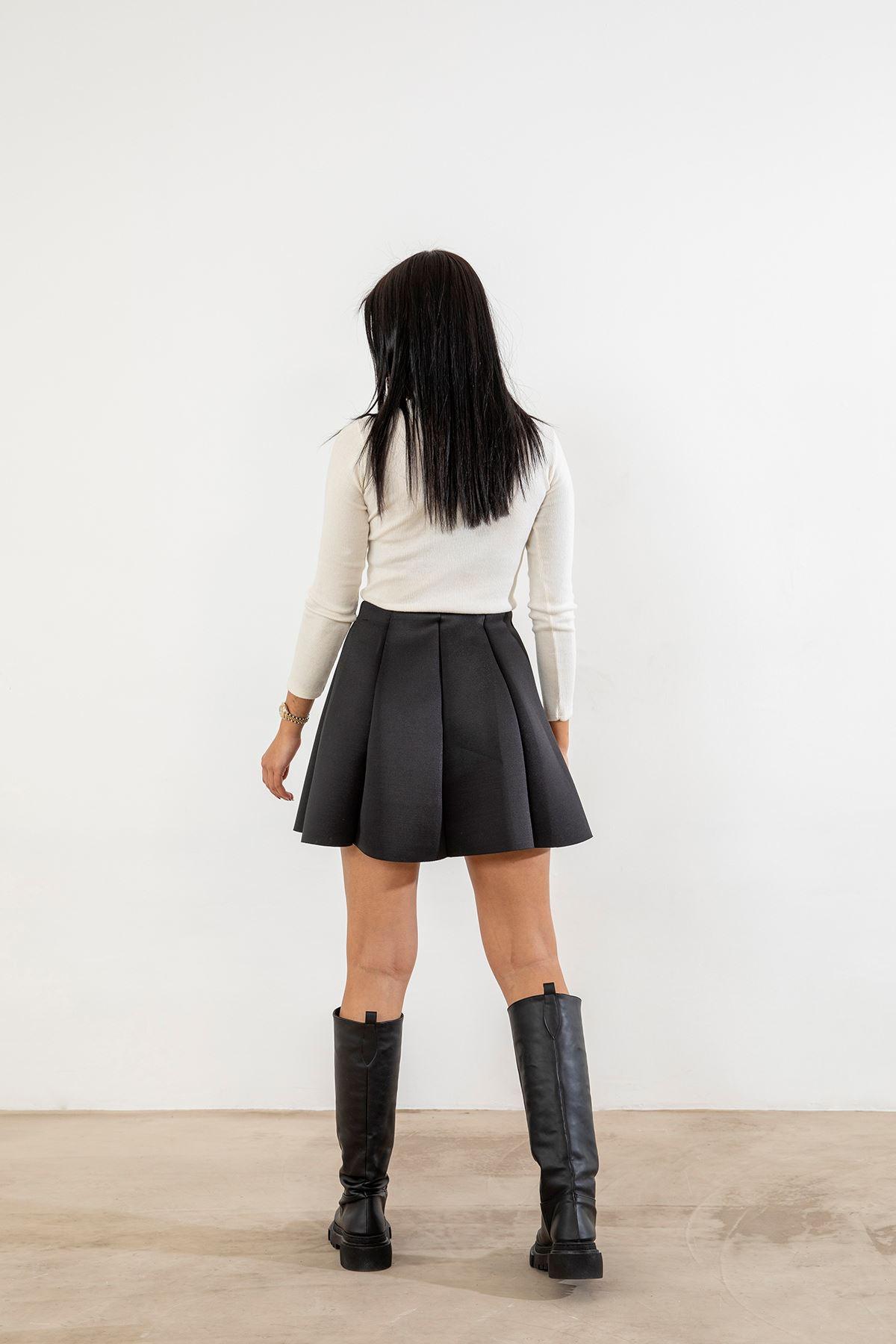 Scuba Kumaş Mini Etek-Siyah