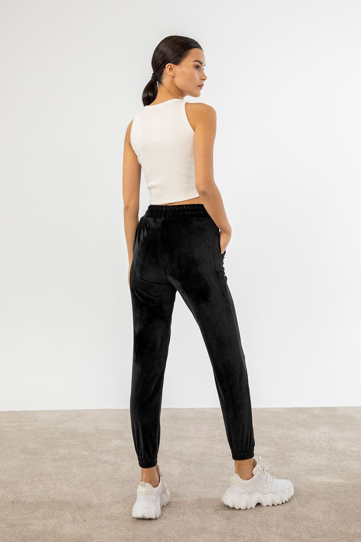 Lastikli Kadife Pantolon-Siyah