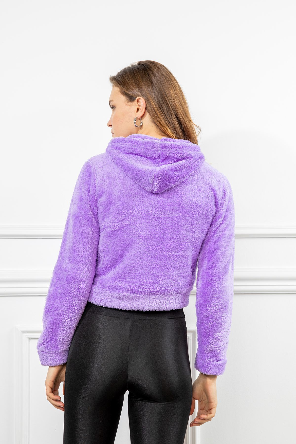 Angel Nakışlı Peluş Sweatshirt-Lila