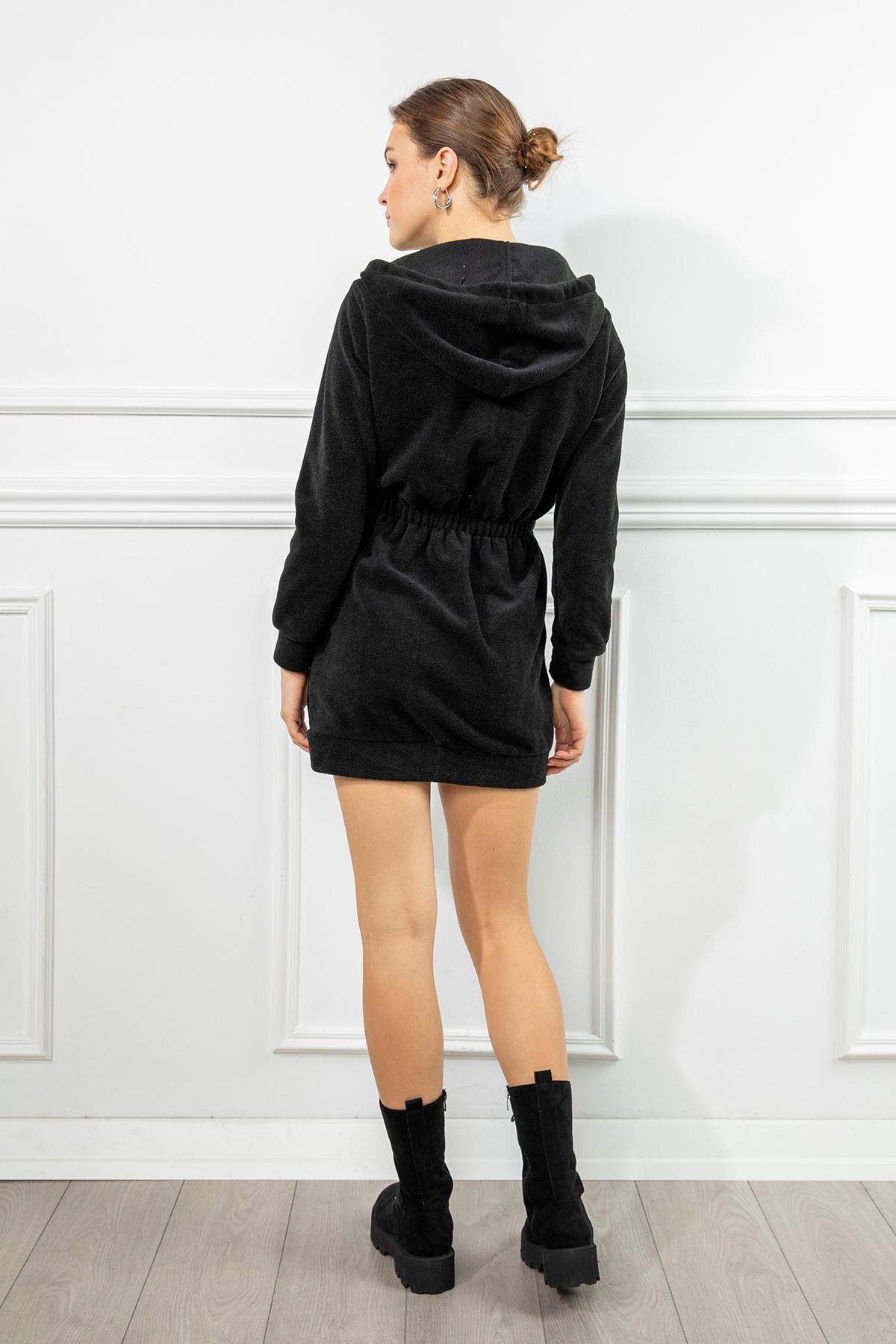Kapşonlu Sweat Elbise-Siyah