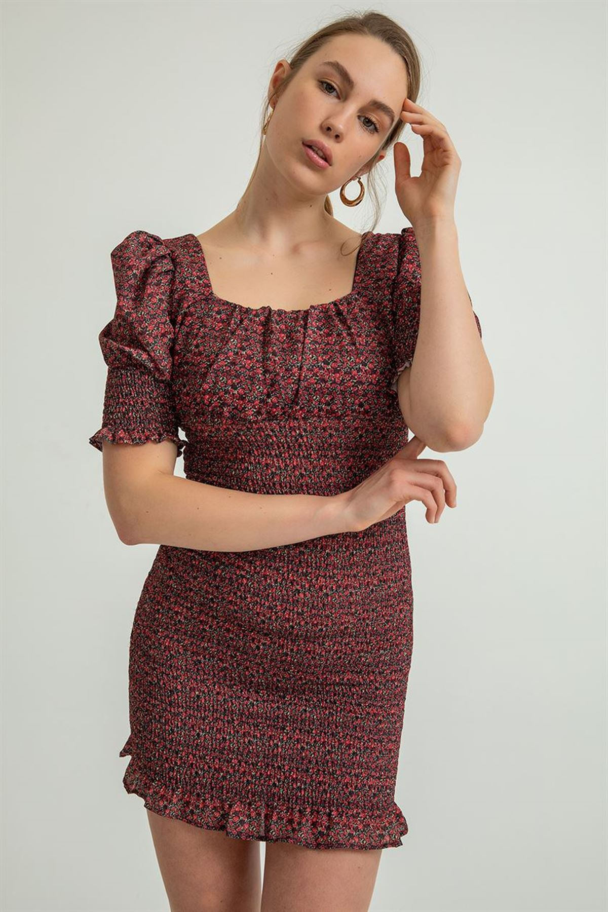Gipeli Desenli Elbise-Siyah