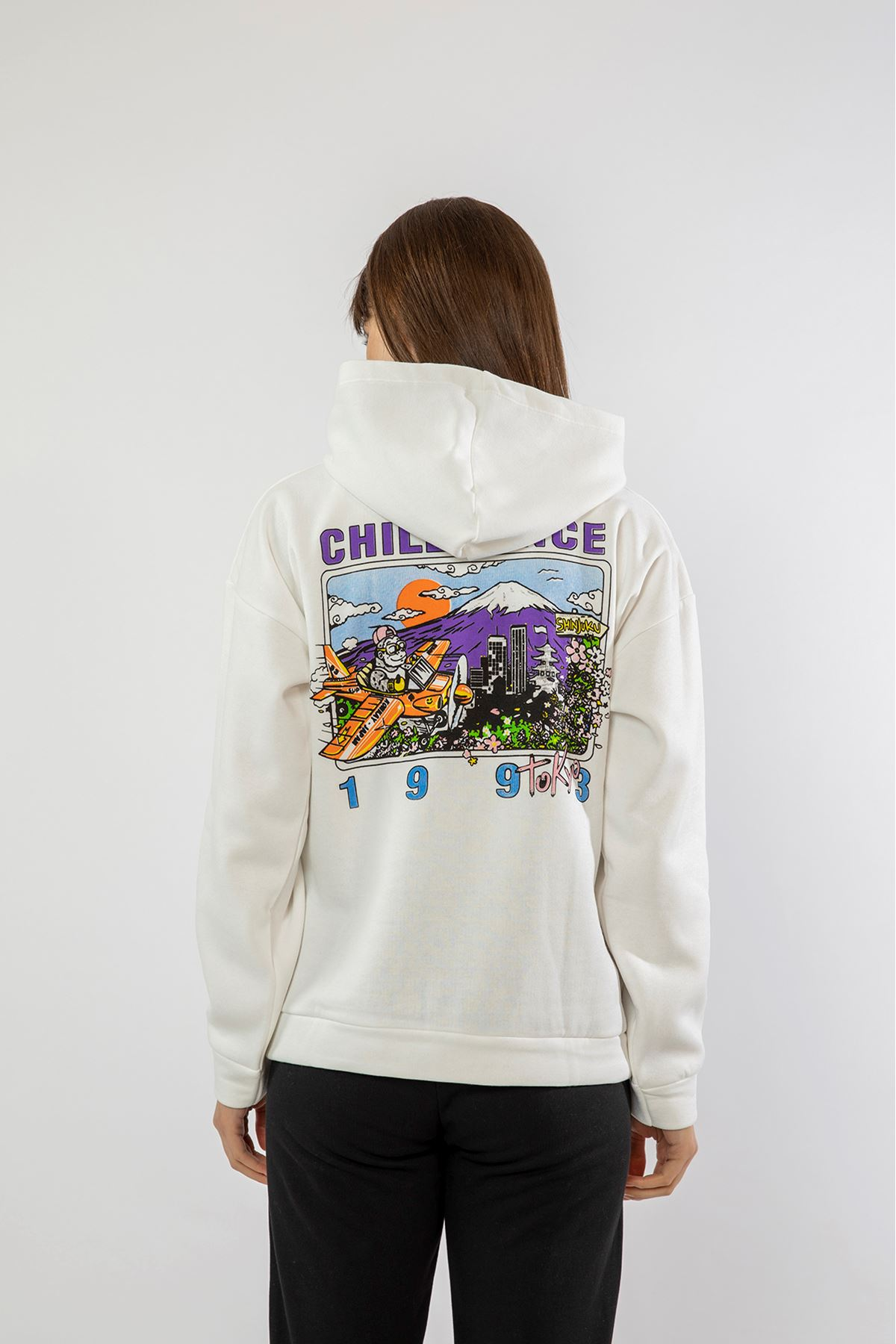 Chıll Sınce Baskılı Sweatshirt-Beyaz