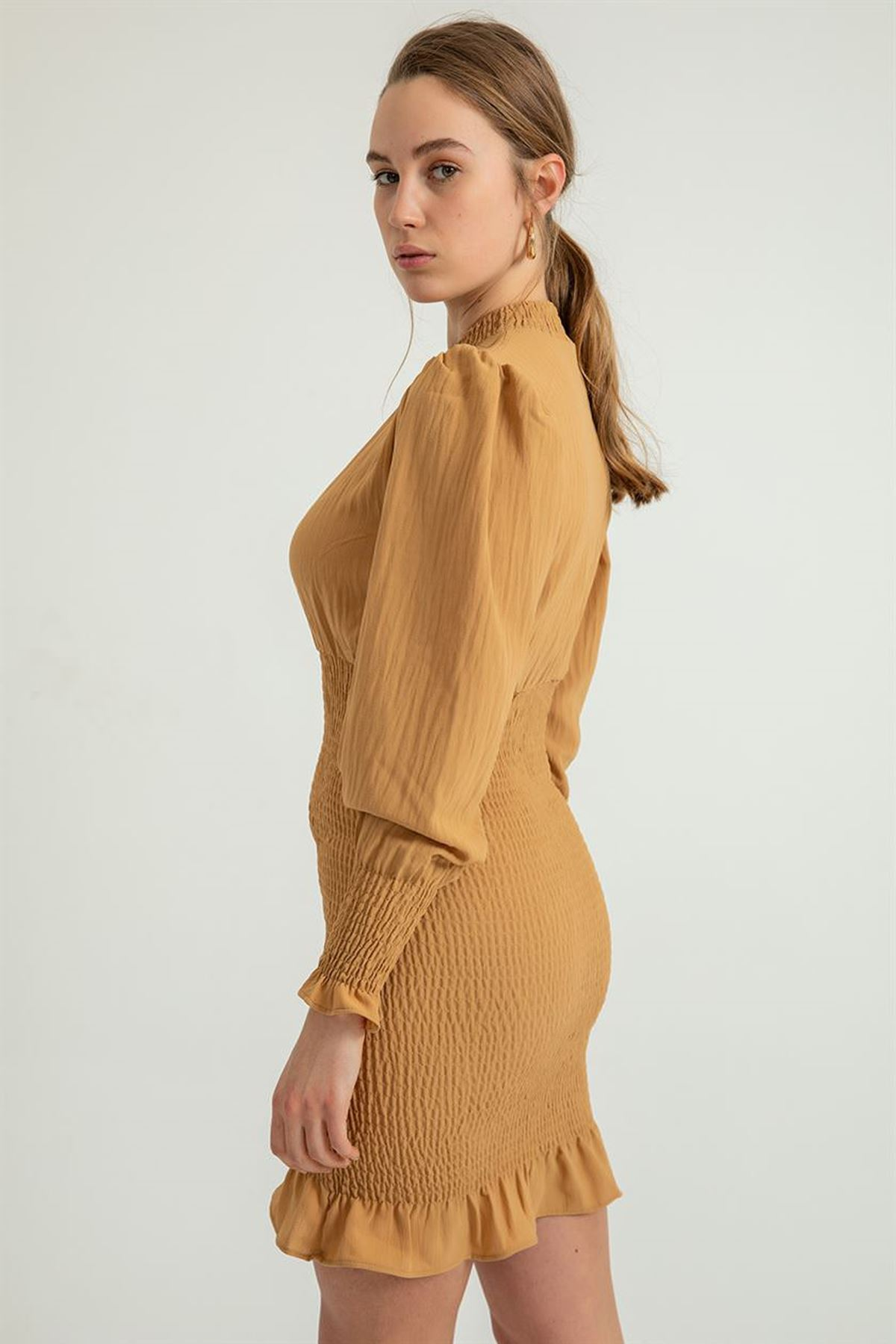 Dik Yaka Gipeli Elbise-Taba