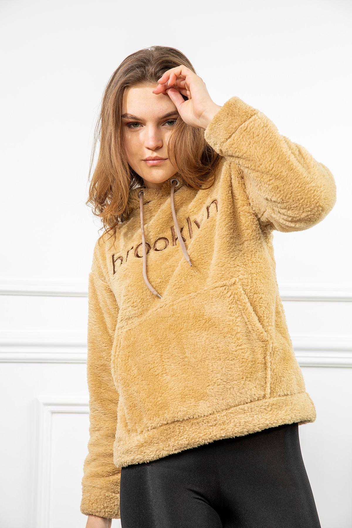 Brooklyn Nakışlı Peluş Sweatshirt-Taba