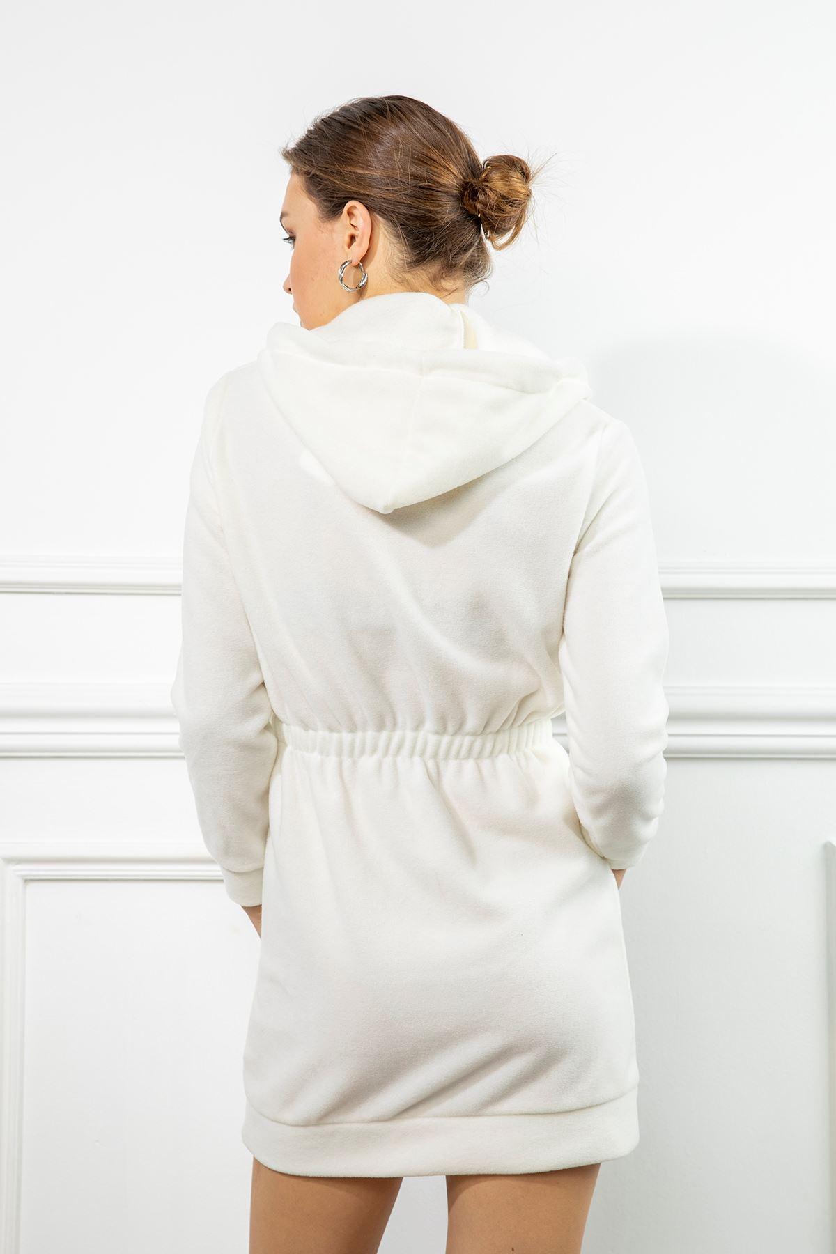 Kapşonlu Sweat Elbise-Ekru