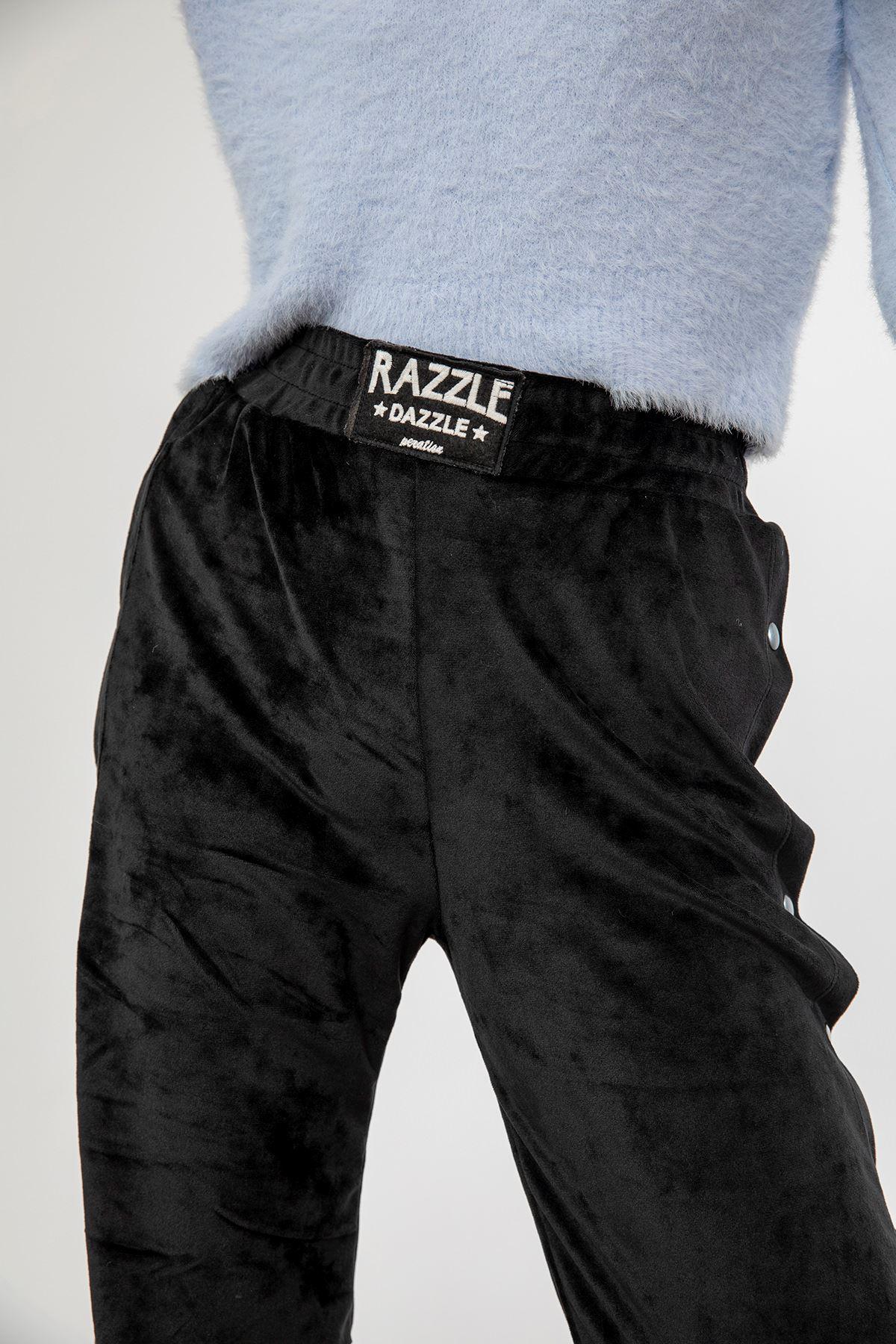 Yanı Çıtçıtlı Kadife Pantolon-Siyah