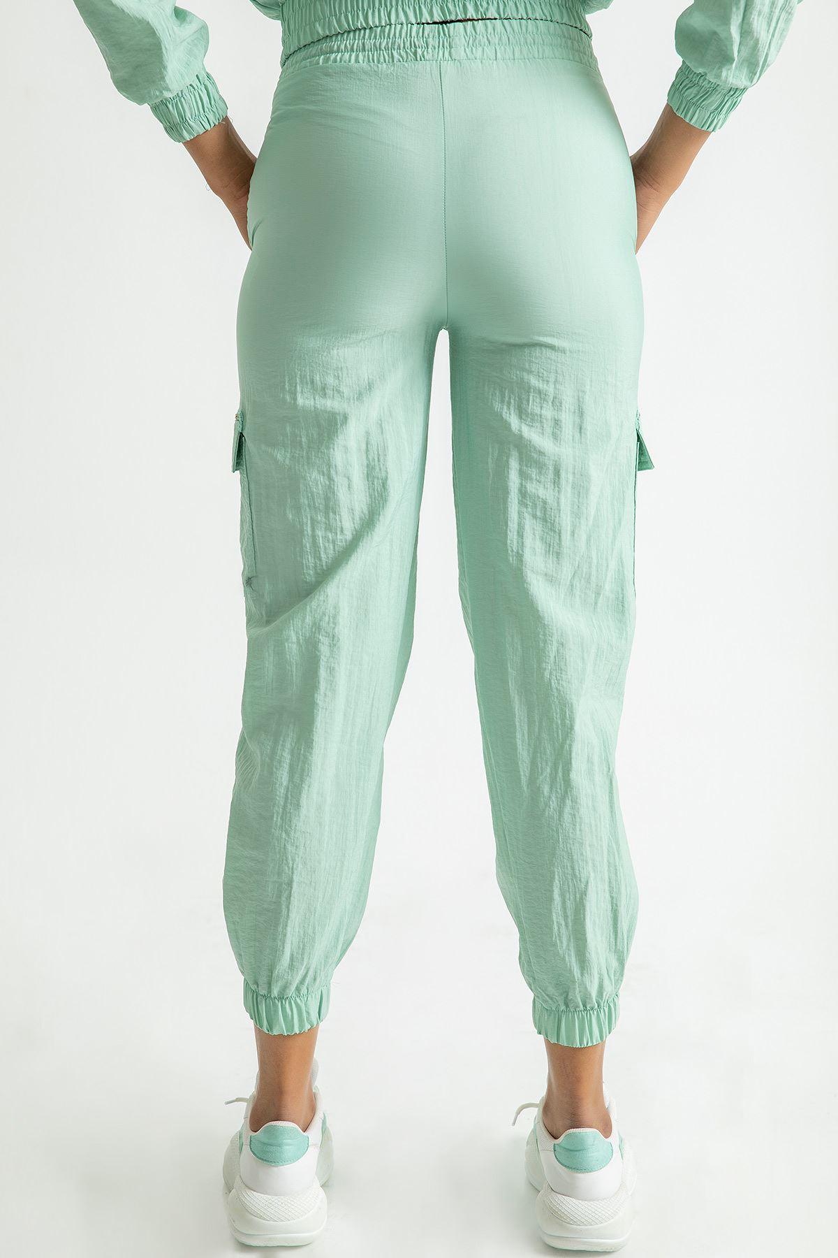 Beli Lastikli Kargo Pantolon-Mint