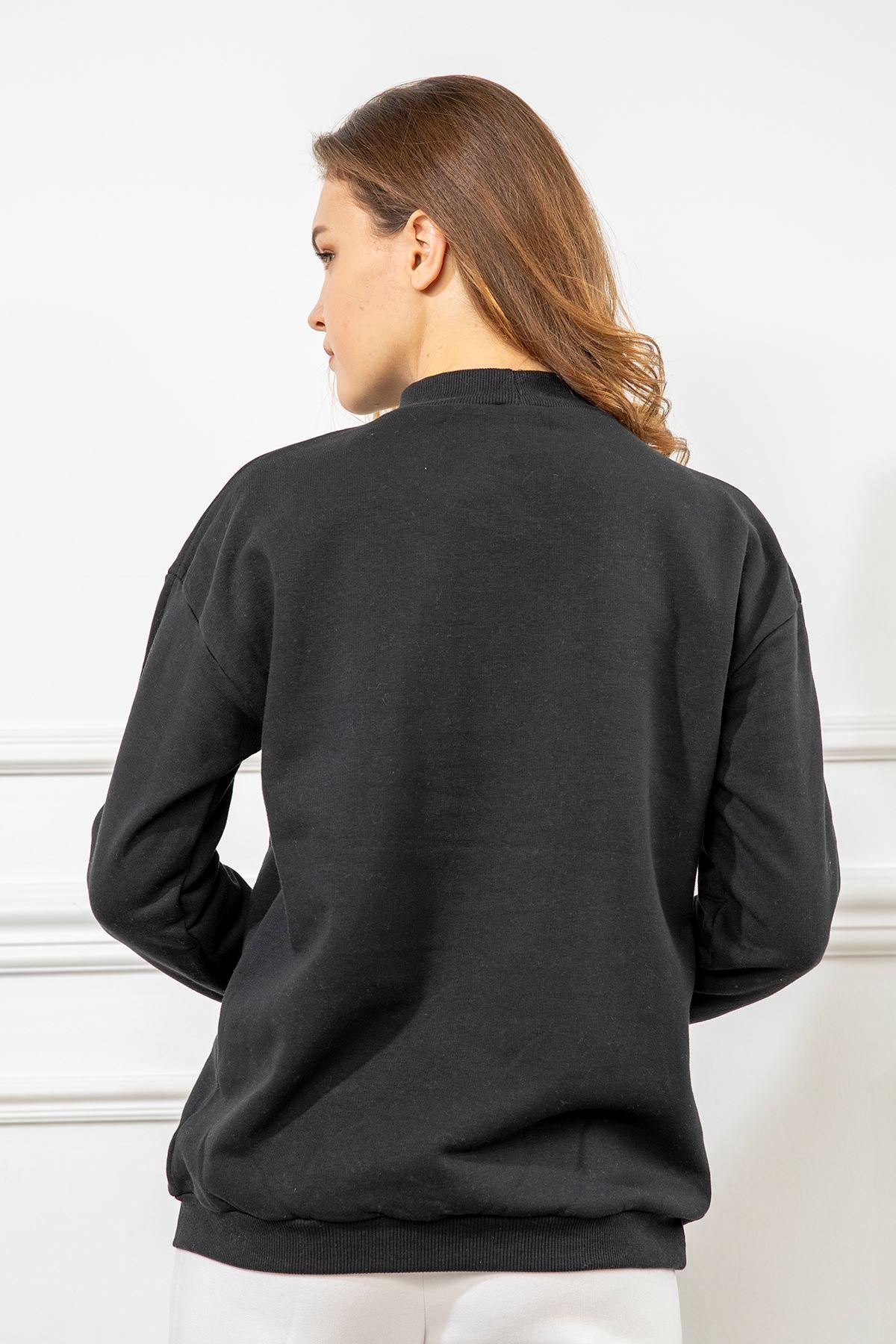 University Baskılı Sweatshirt-Siyah