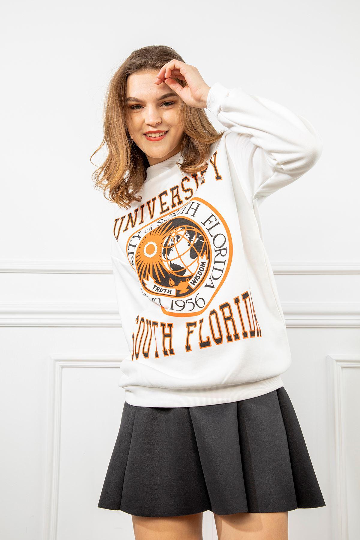 University Baskılı Sweatshirt-Ekru