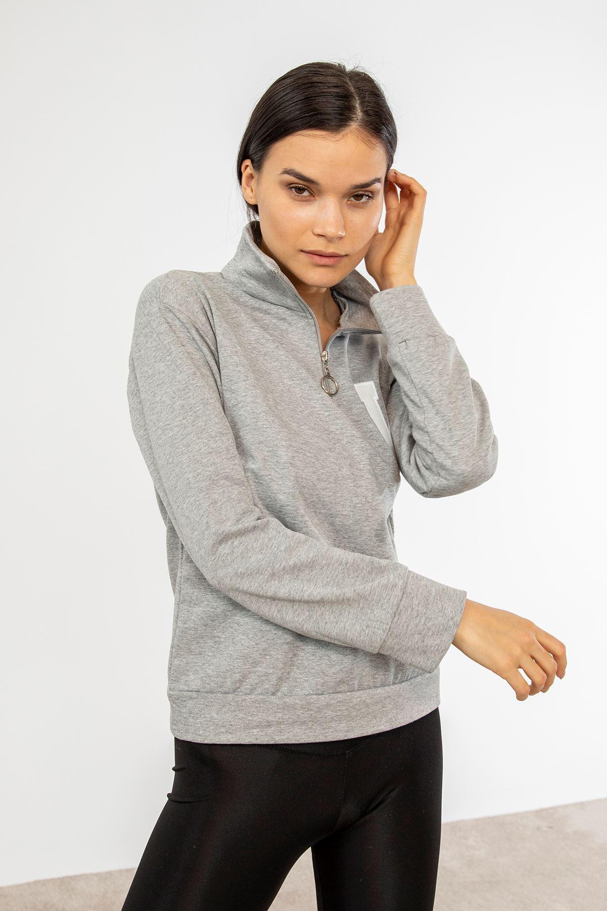 Yarım Fermuarlı Sweatshirt-Gri