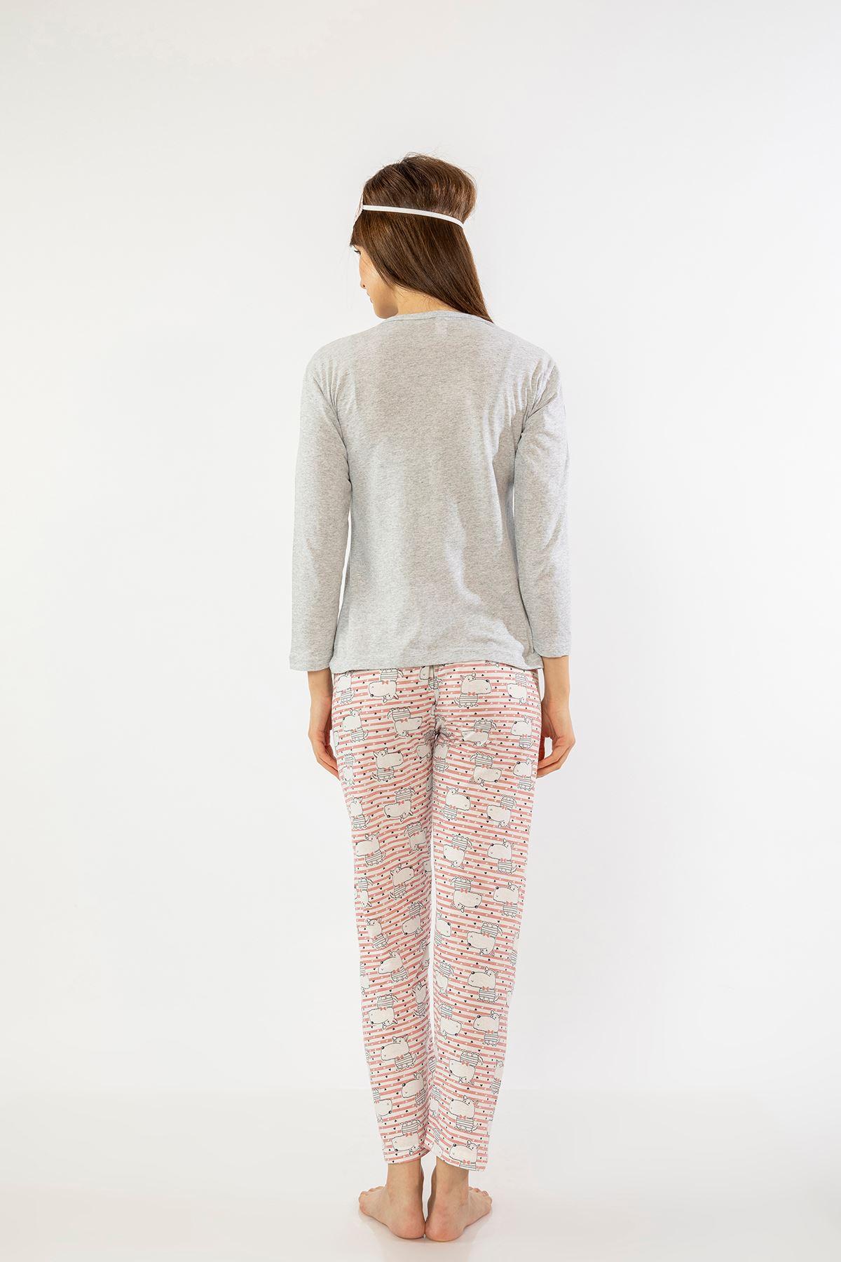 Baskılı Pijama Takım-Gri