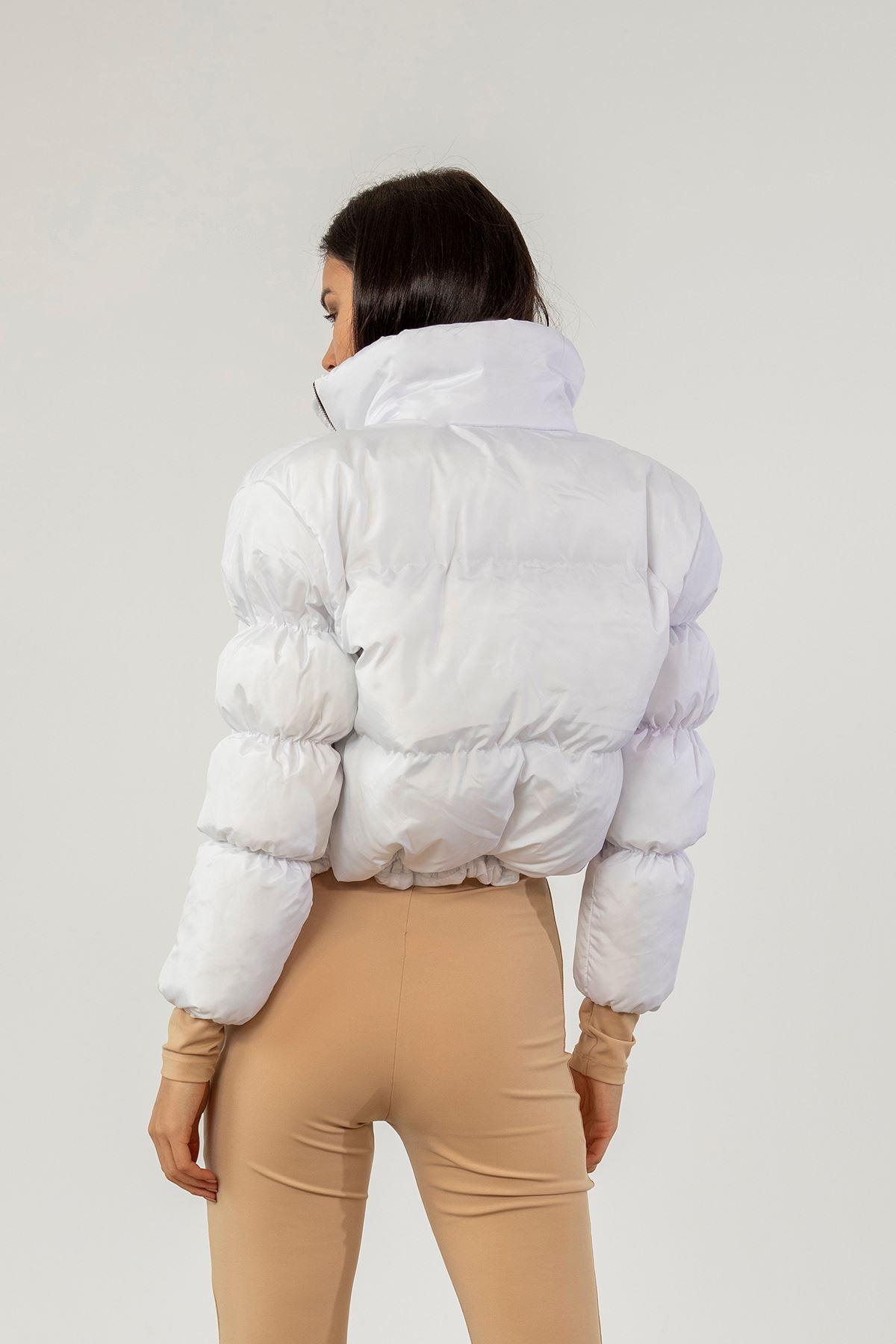 Kol Detay Şişme Mont-Beyaz