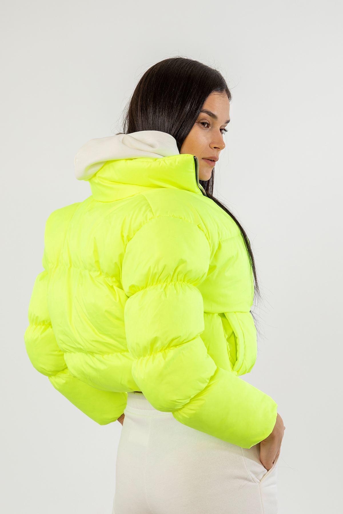 Kol Detay Şişme Mont-Neon Sarı