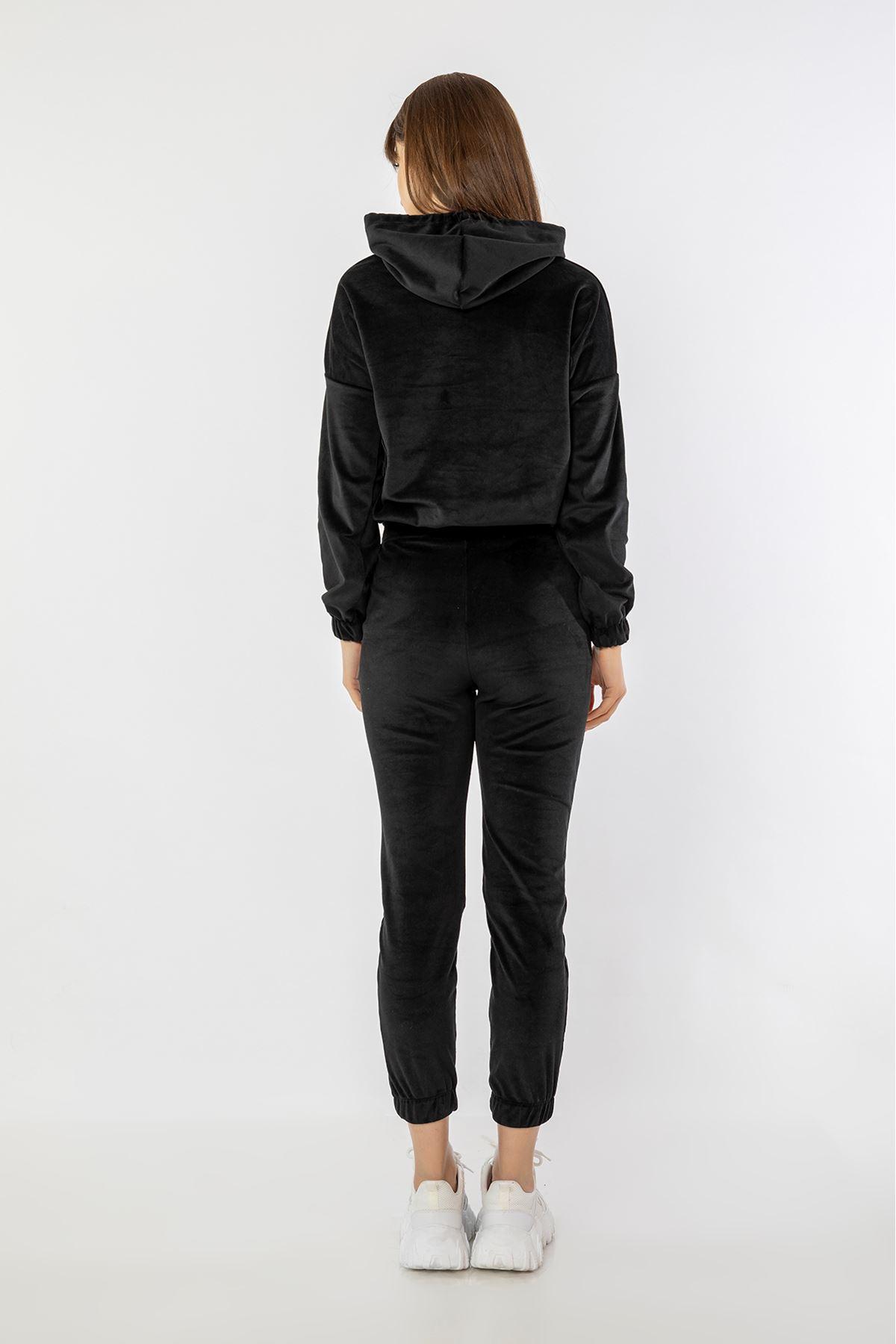 Kadife Eşofman Takım-Siyah