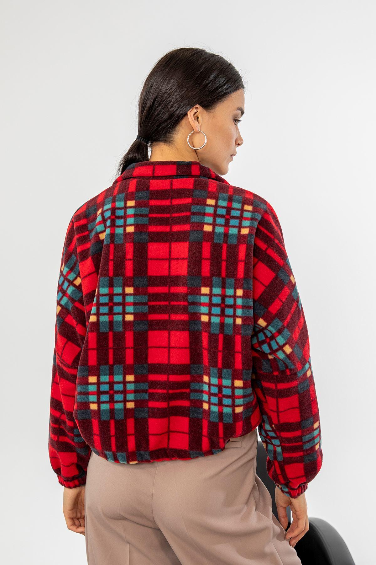 Desenli Polar Sweatshirt-Kırmızı
