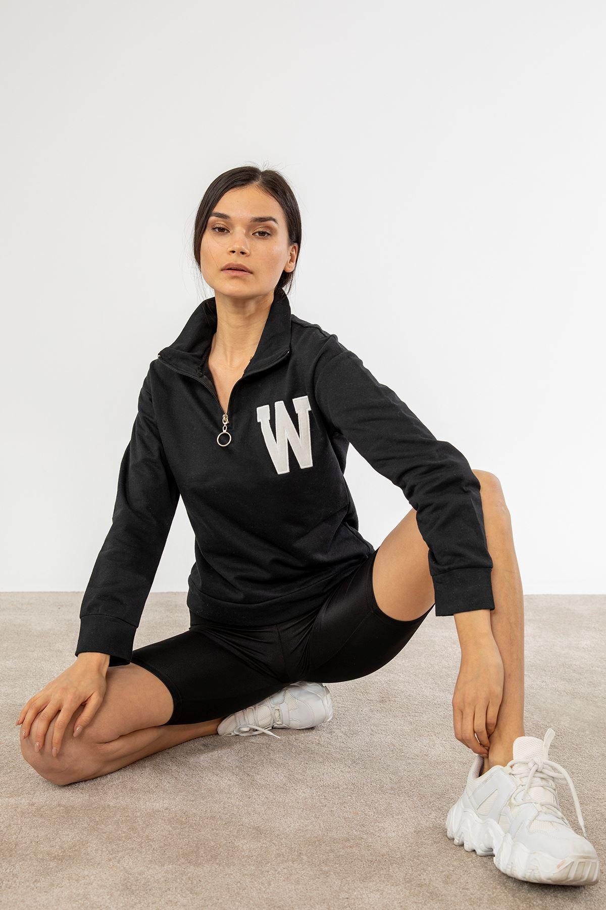 Yarım Fermuarlı Sweatshirt-Siyah