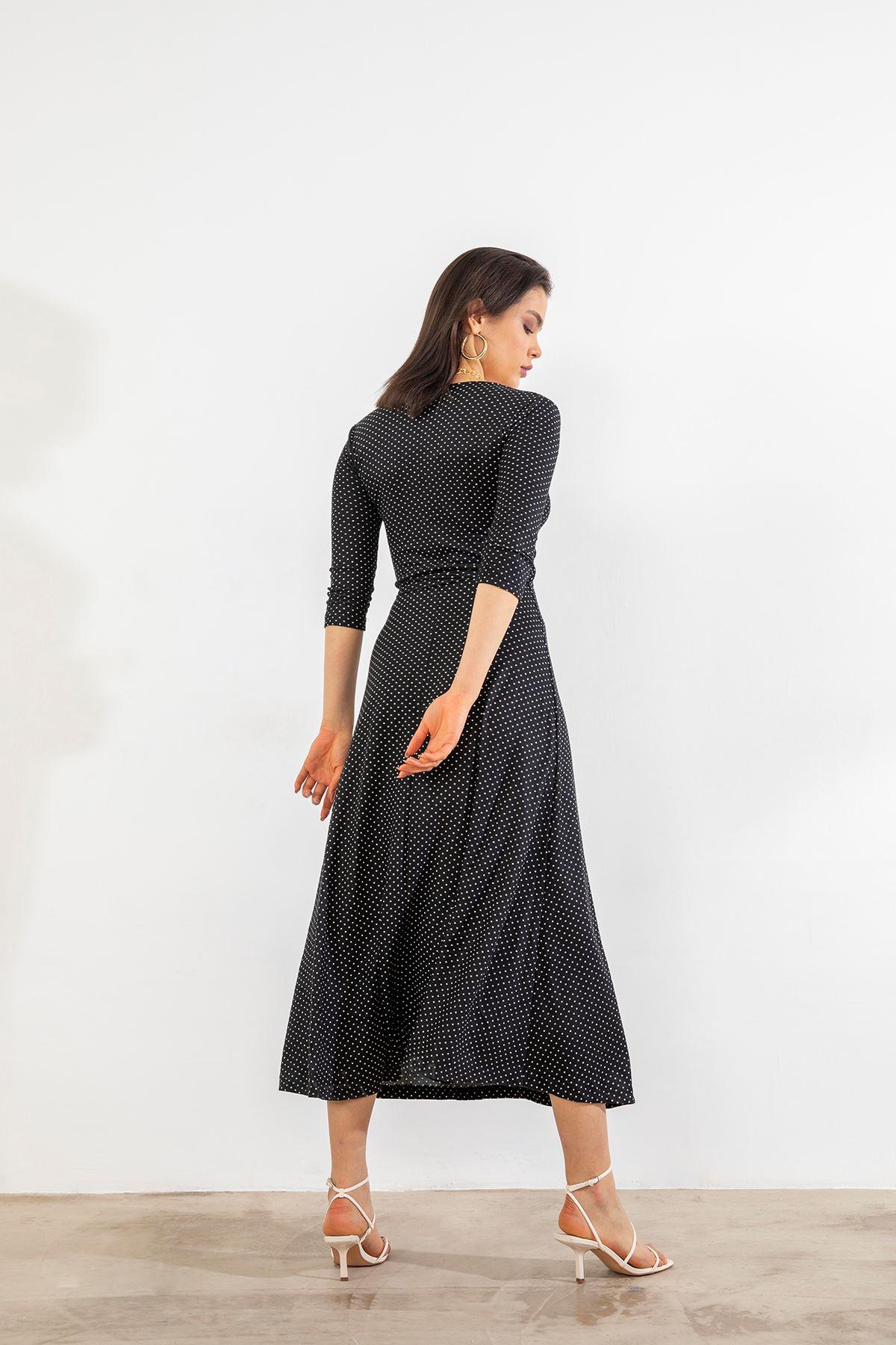 Kruvaze Yaka Kuşaklı Elbise-Puantiye