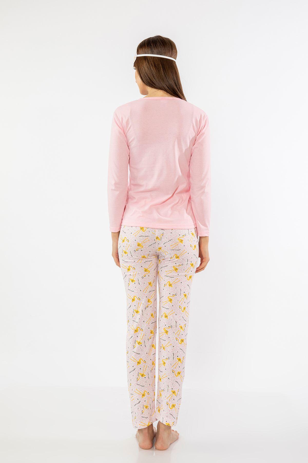 Kuğu Baskılı Pijama Takım-Pembe