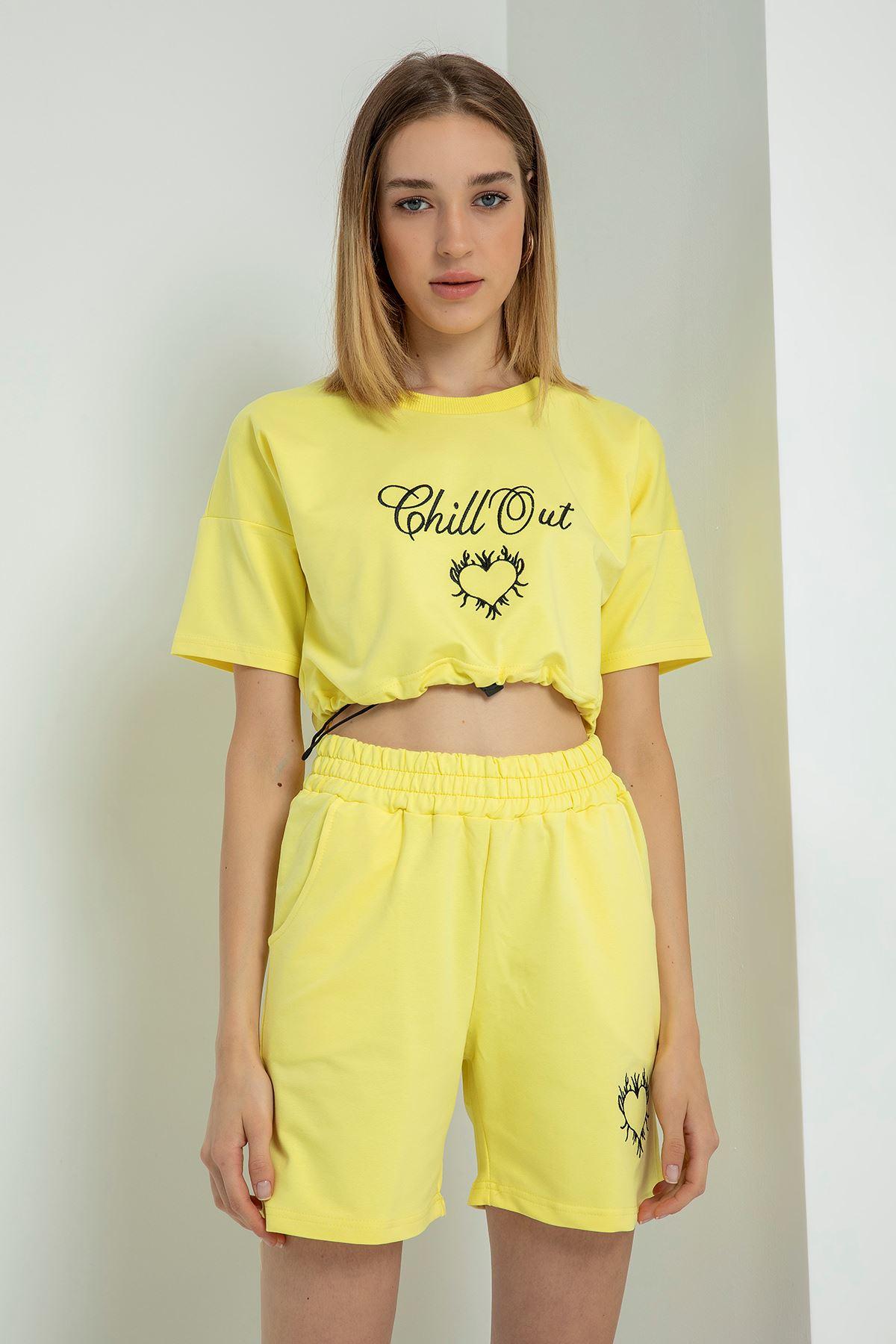 Chill Out Baskılı Şort Takım-Sarı