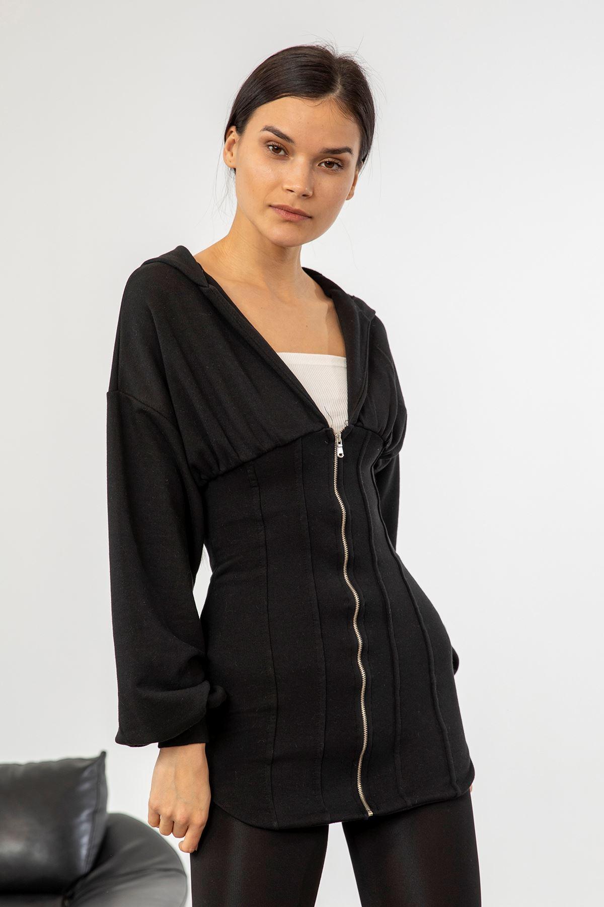 Fermuarlı Uzun Sweatshirt-Siyah