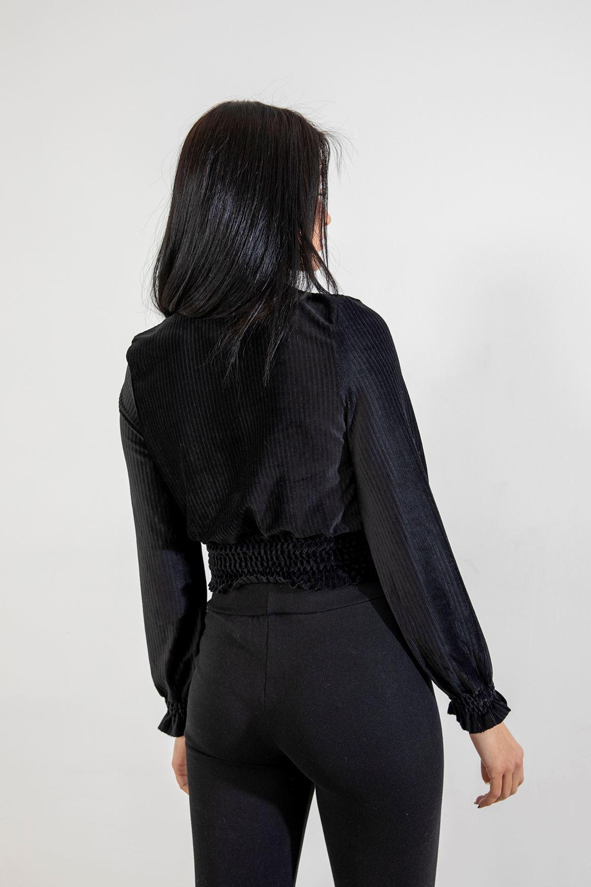 Gipeli Kadife Bluz-Siyah
