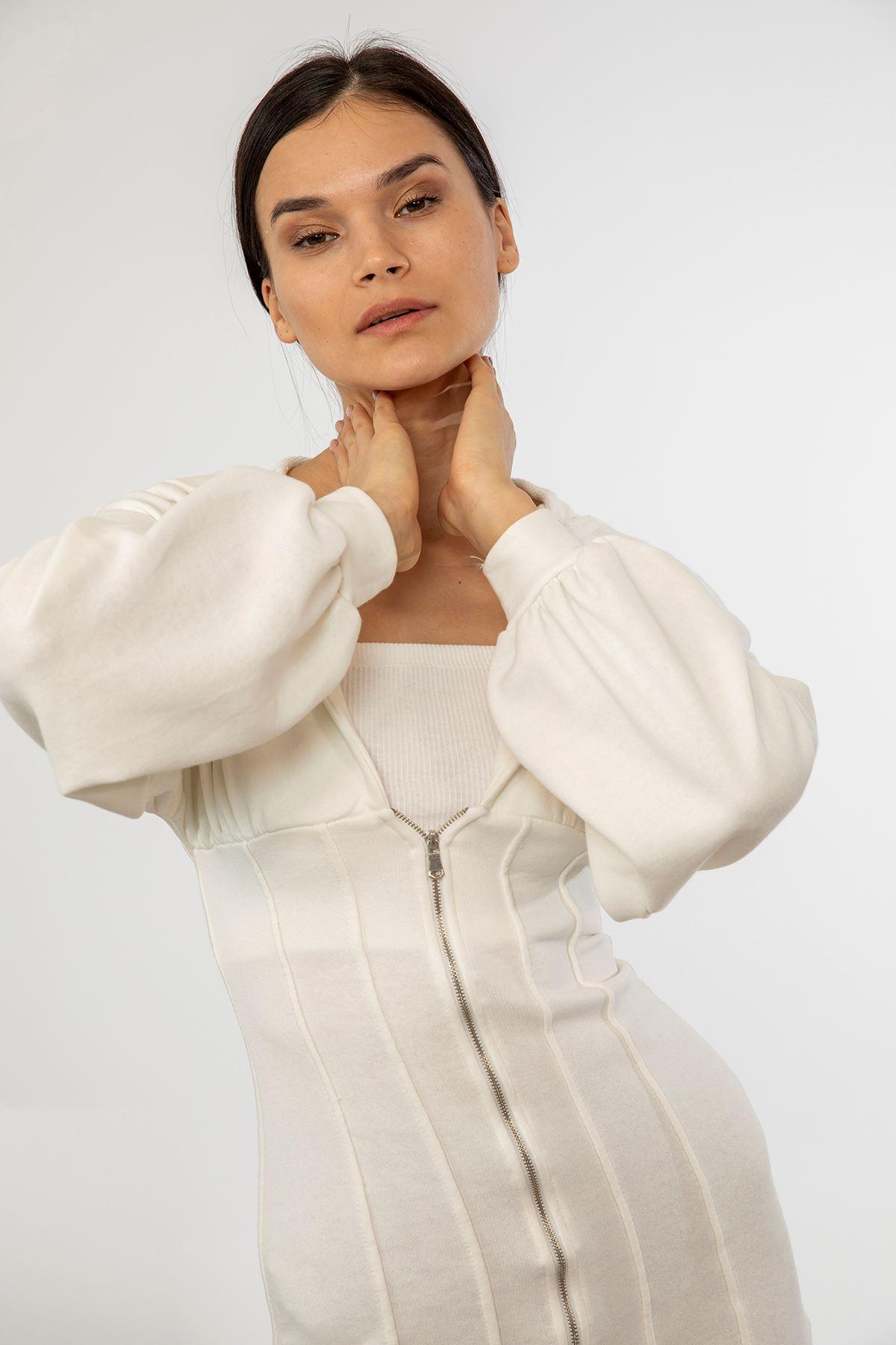 Fermuarlı Uzun Sweatshirt-Beyaz