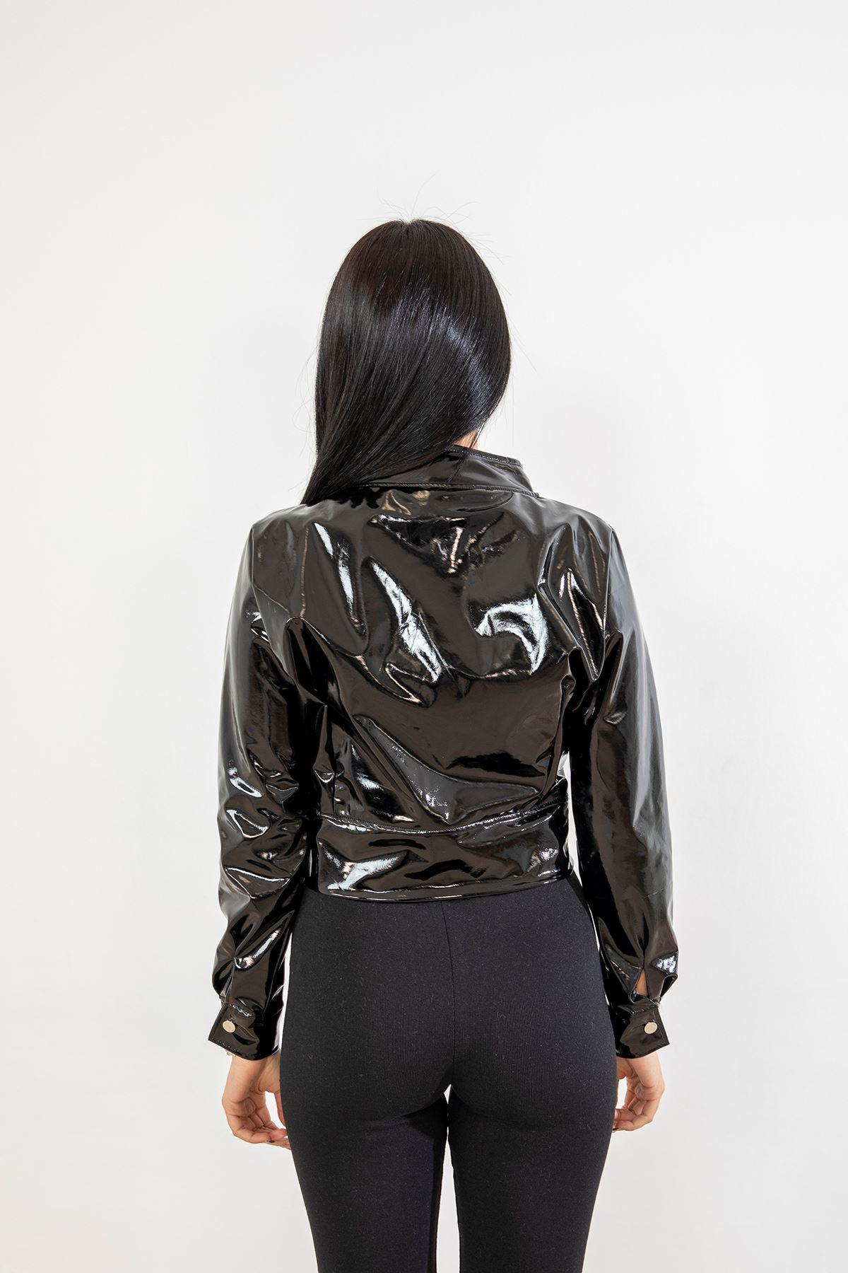 Fermuarlı Rugan Ceket-Siyah
