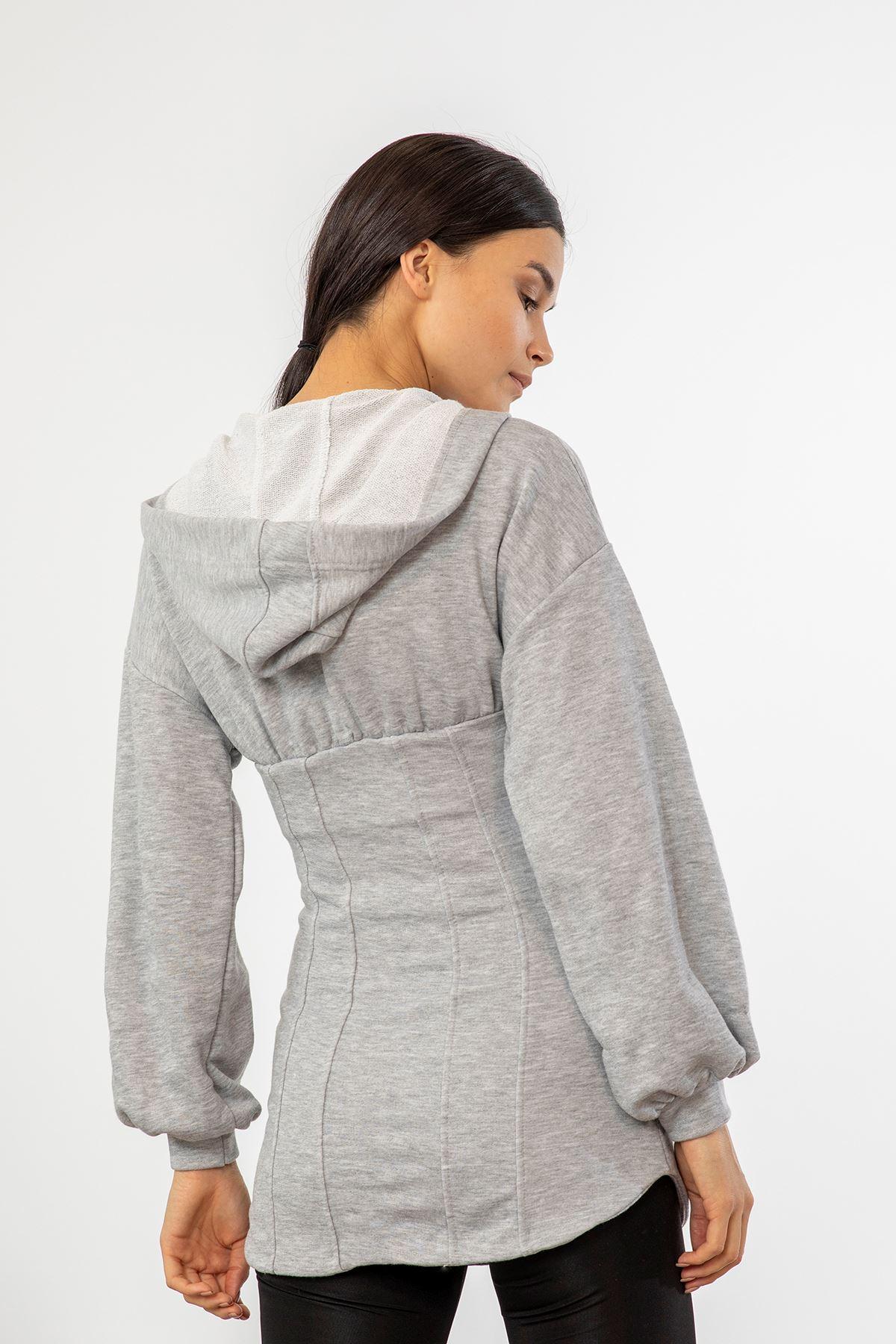 Fermuarlı Uzun Sweatshirt-Gri