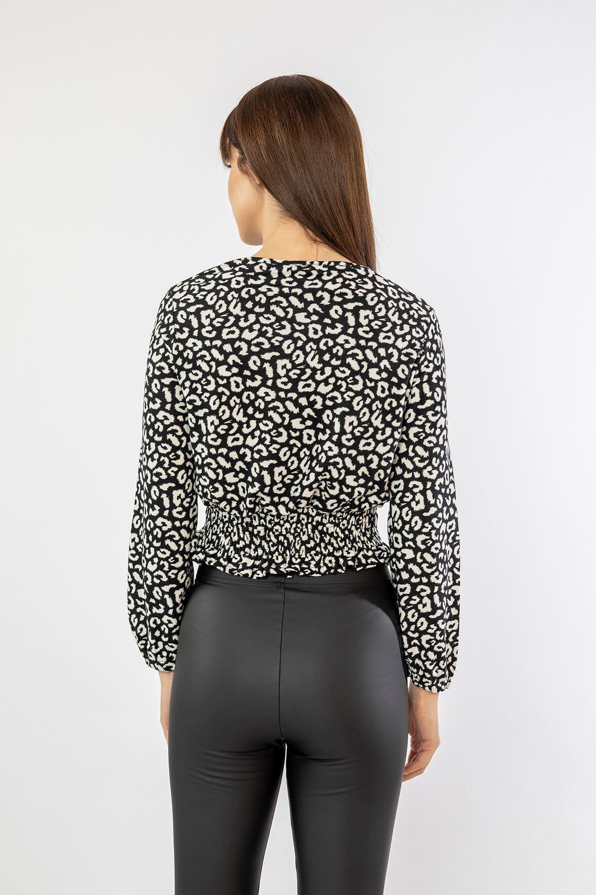 Gipeli Bağcıklı Leopar Bluz-Siyah