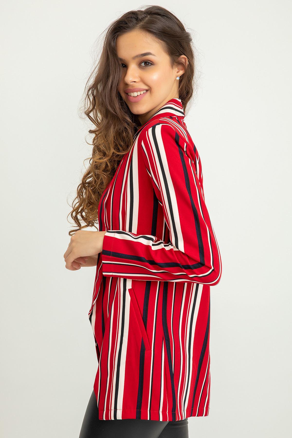 Çizgi Desen Blazer Ceket-Kırmızı