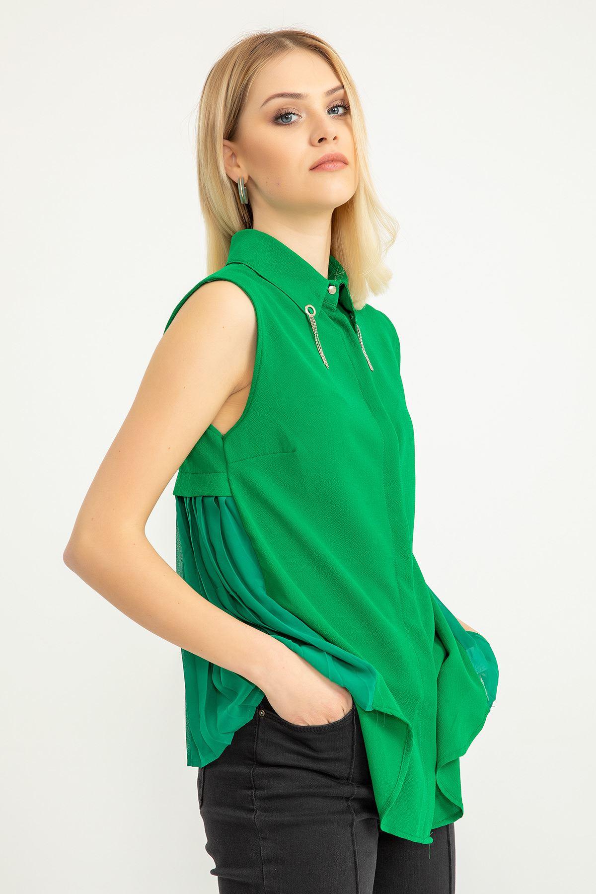 Arkası Şifon Piliseli Gömlek-Yeşil