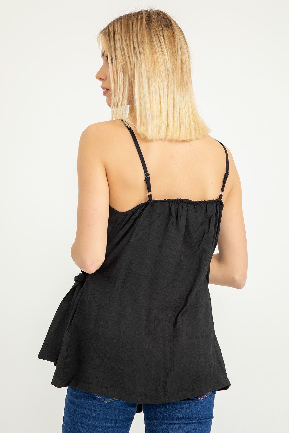 Bağlama Detay Askılı Bluz-Siyah