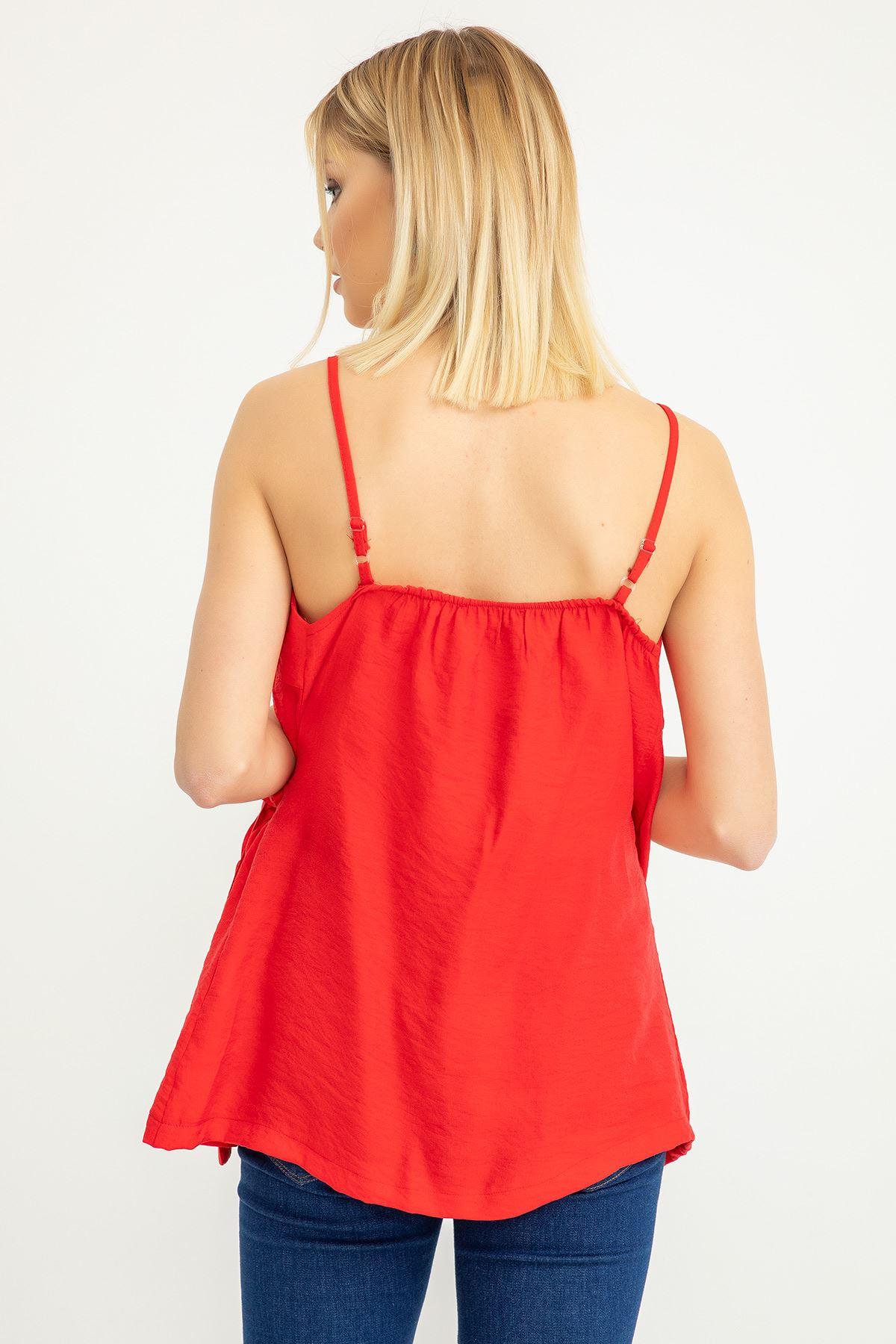 Bağlama Detay Askılı Bluz-Kırmızı