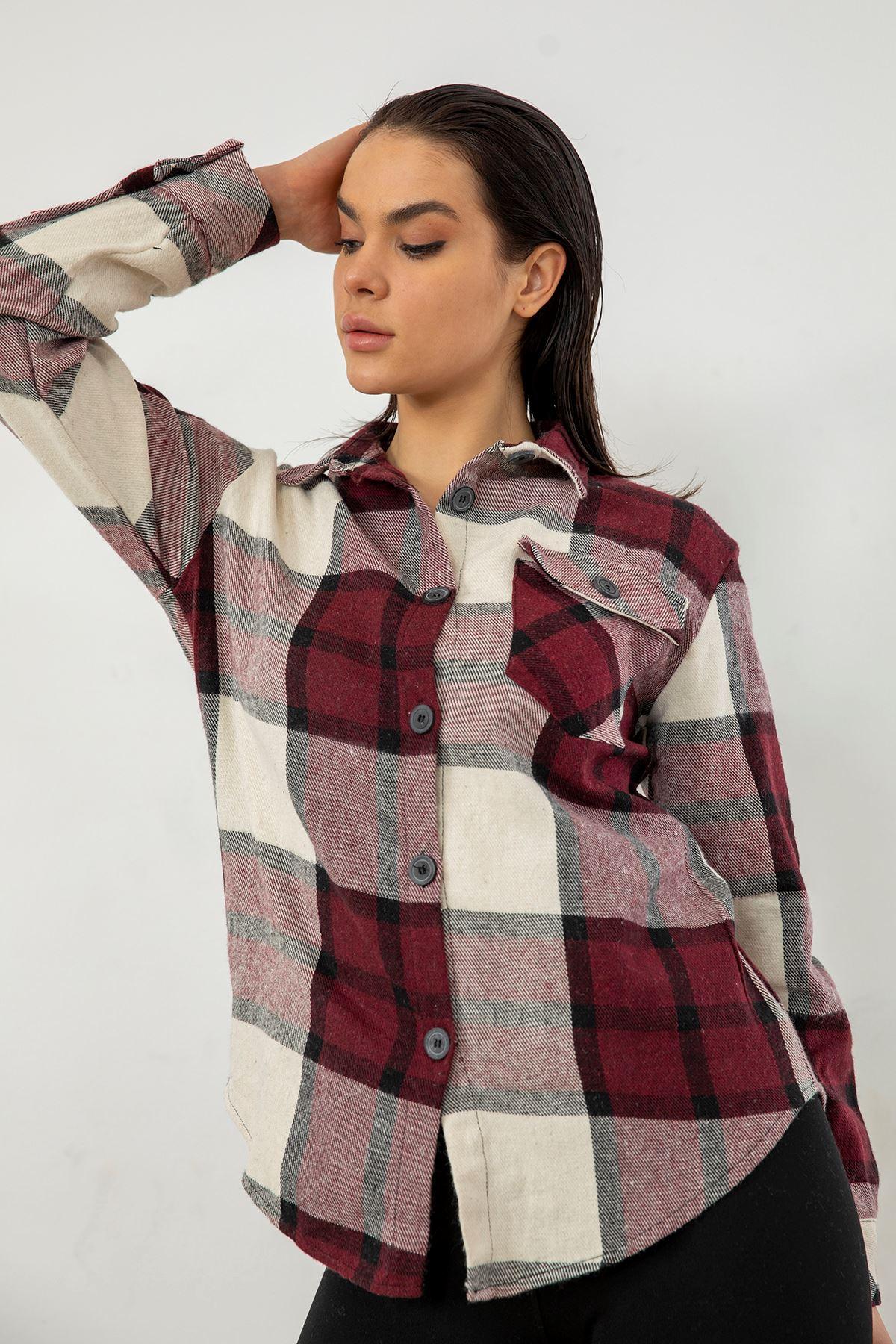 Cepli Oduncu Gömlek-Bordo-Ekru