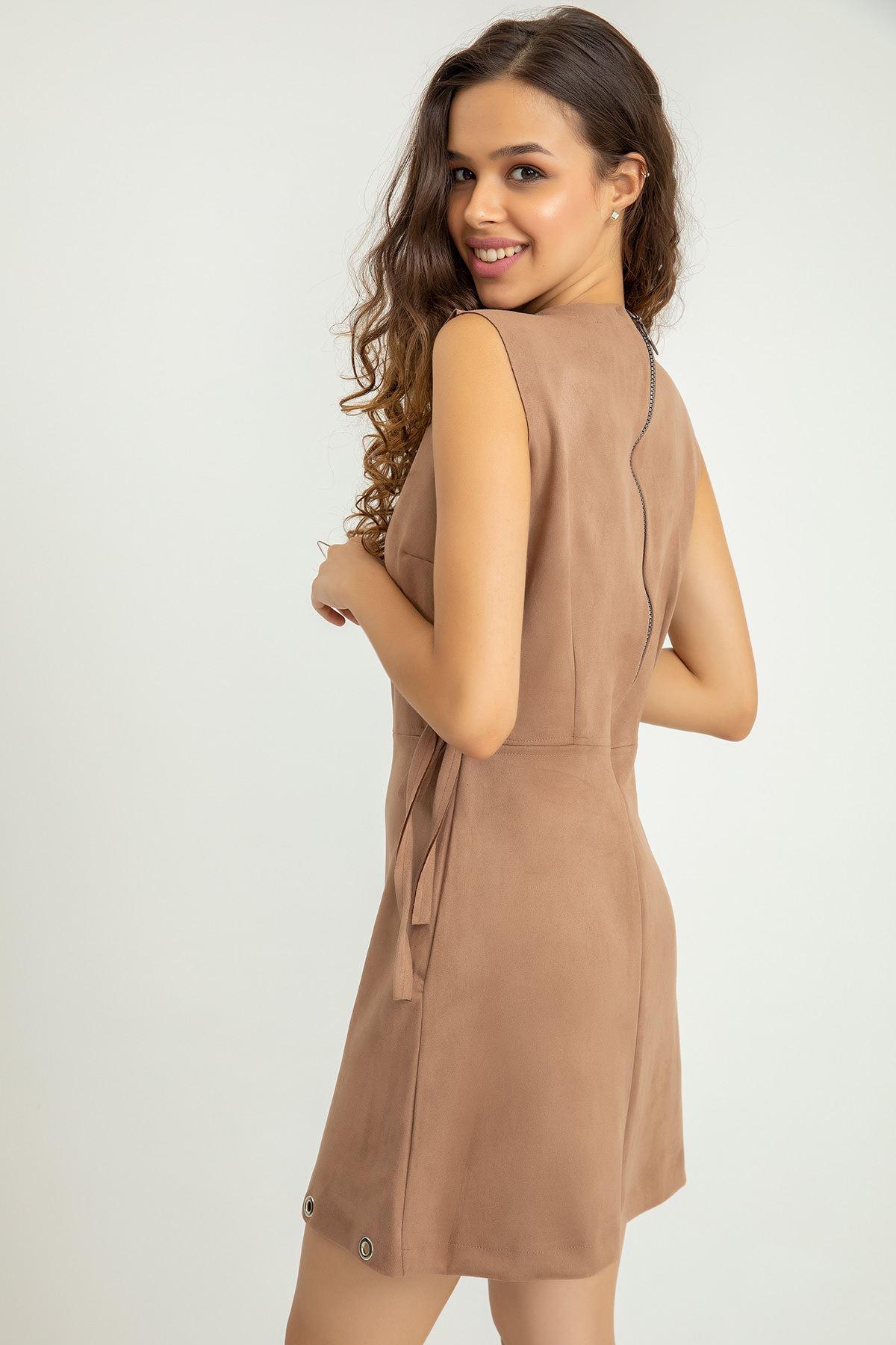 Yanı Bağcıklı Süet Mini Elbise-Taş